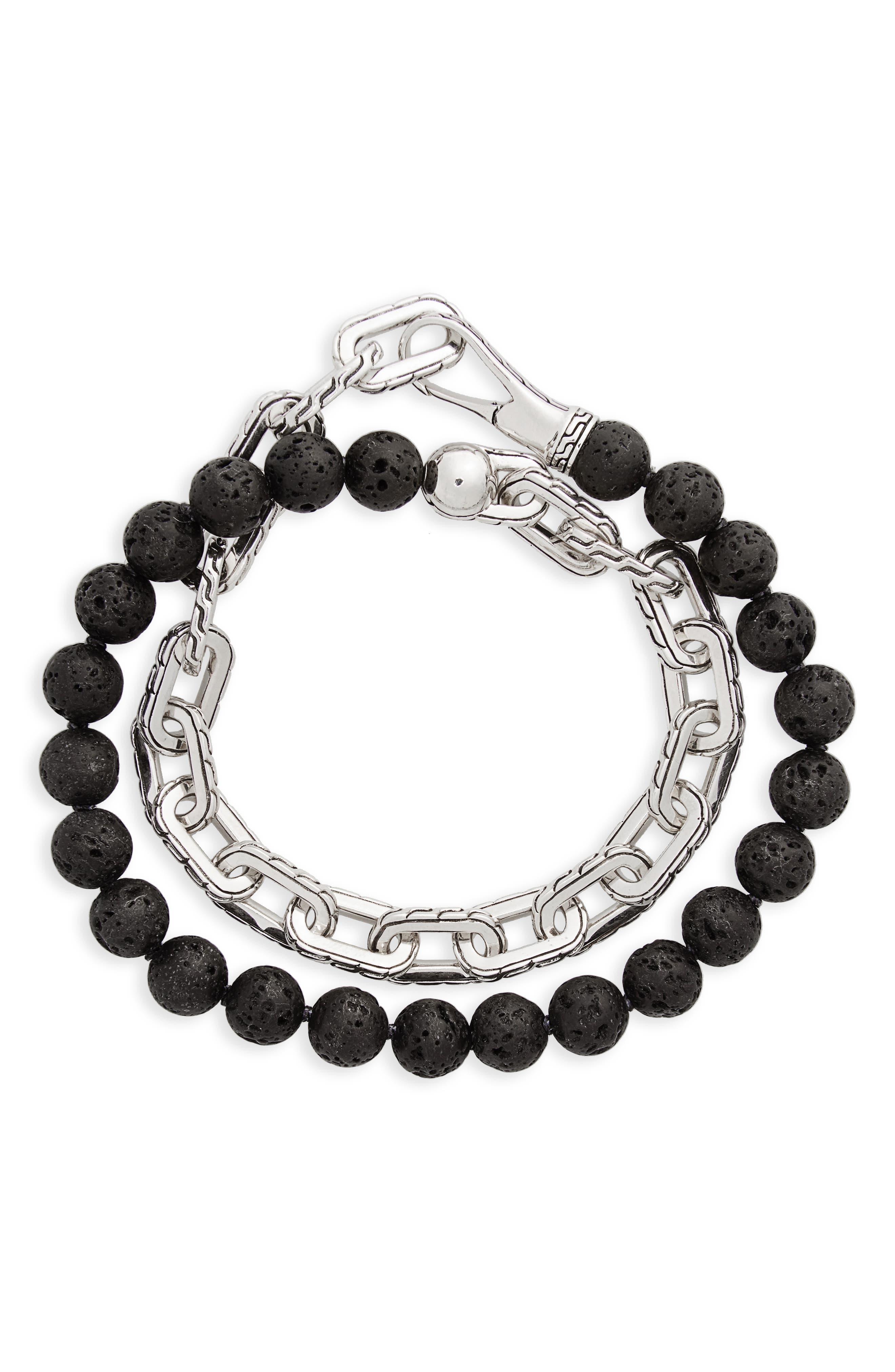Classic Chain Double Wrap Bracelet,                         Main,                         color, Silver/ Multi