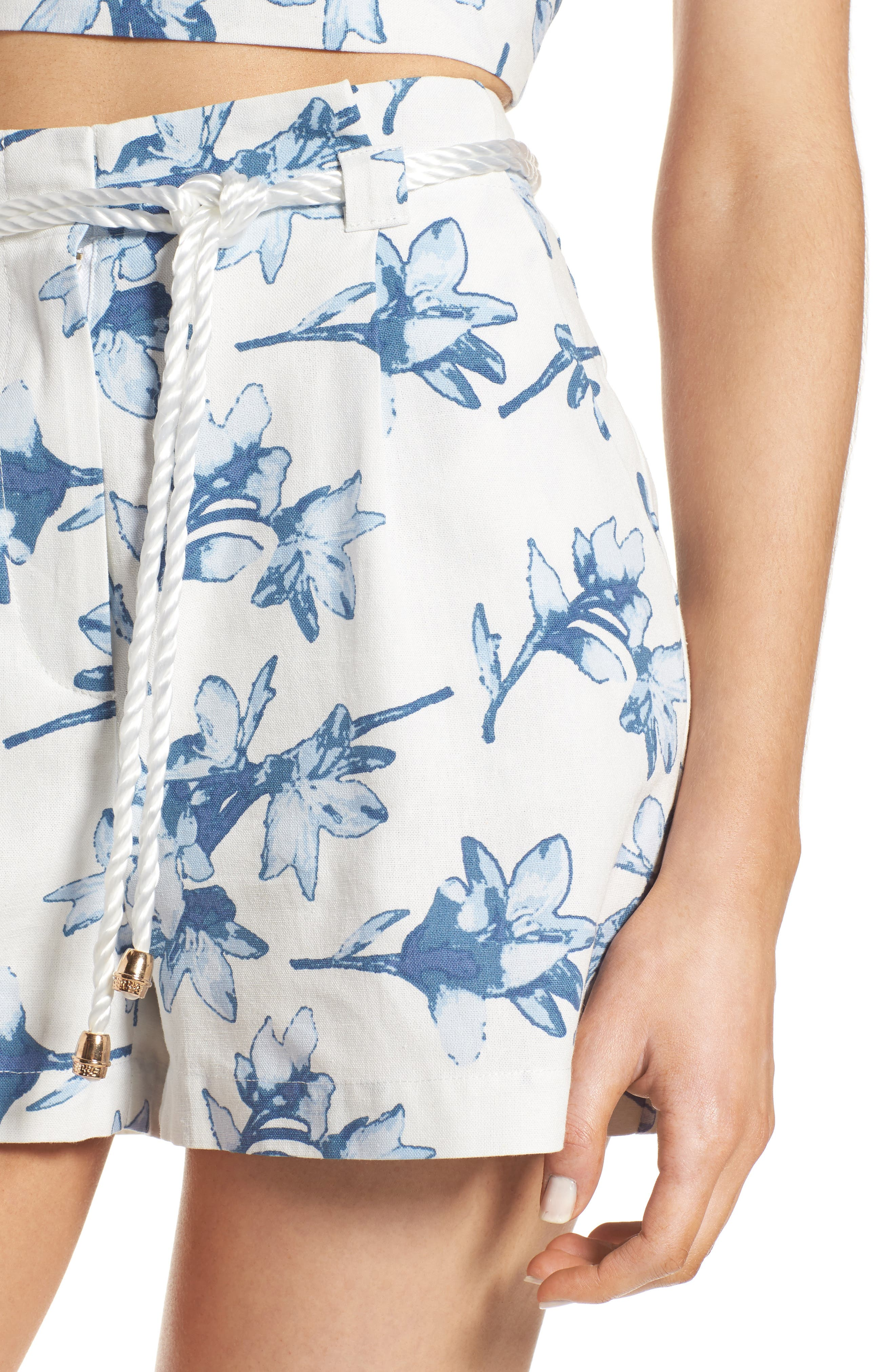 High Waist Linen Shorts,                             Alternate thumbnail 5, color,                             White