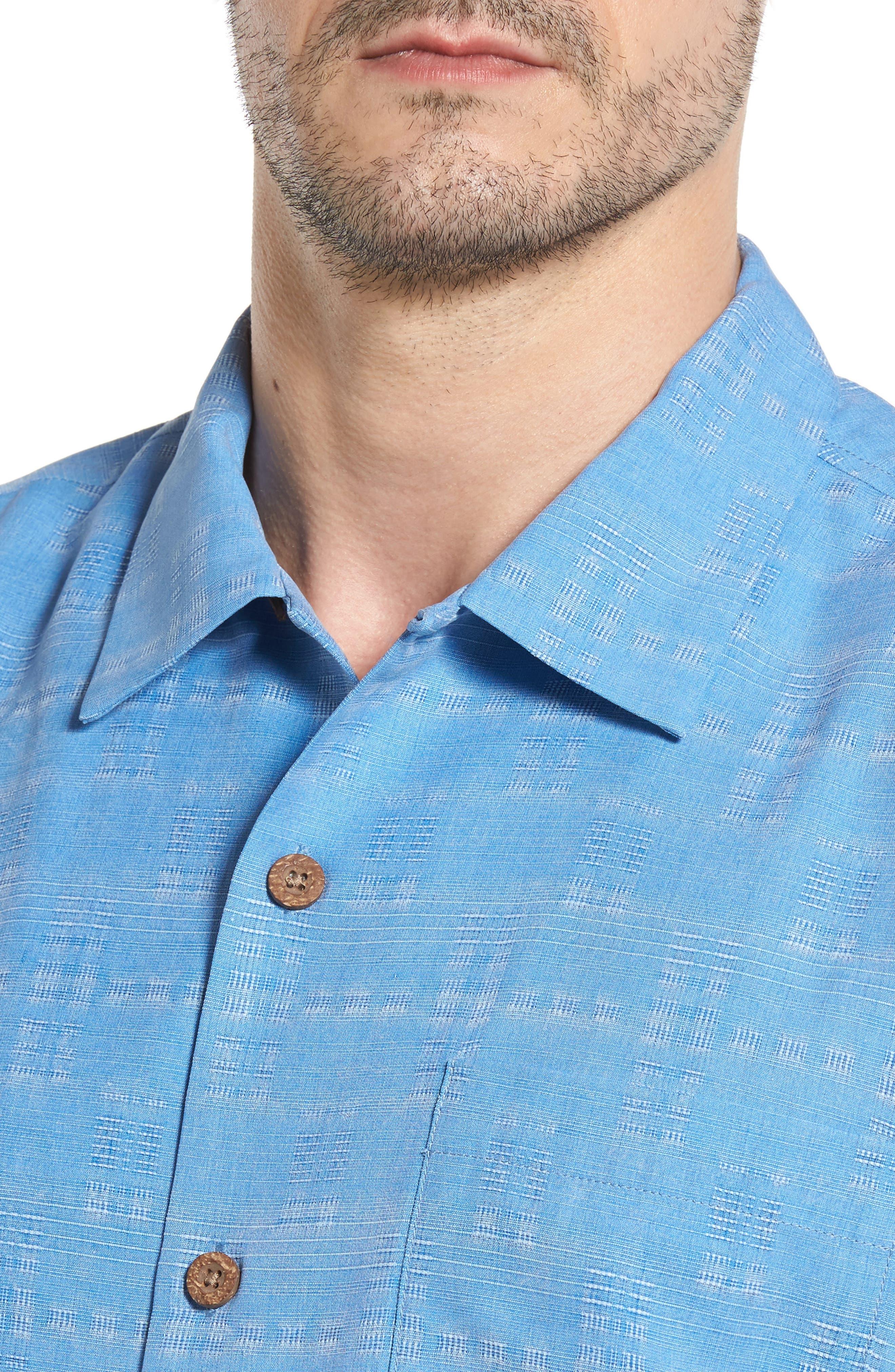 Alternate Image 4  - Tommy Bahama Original Fit Jacquard Silk Camp Shirt