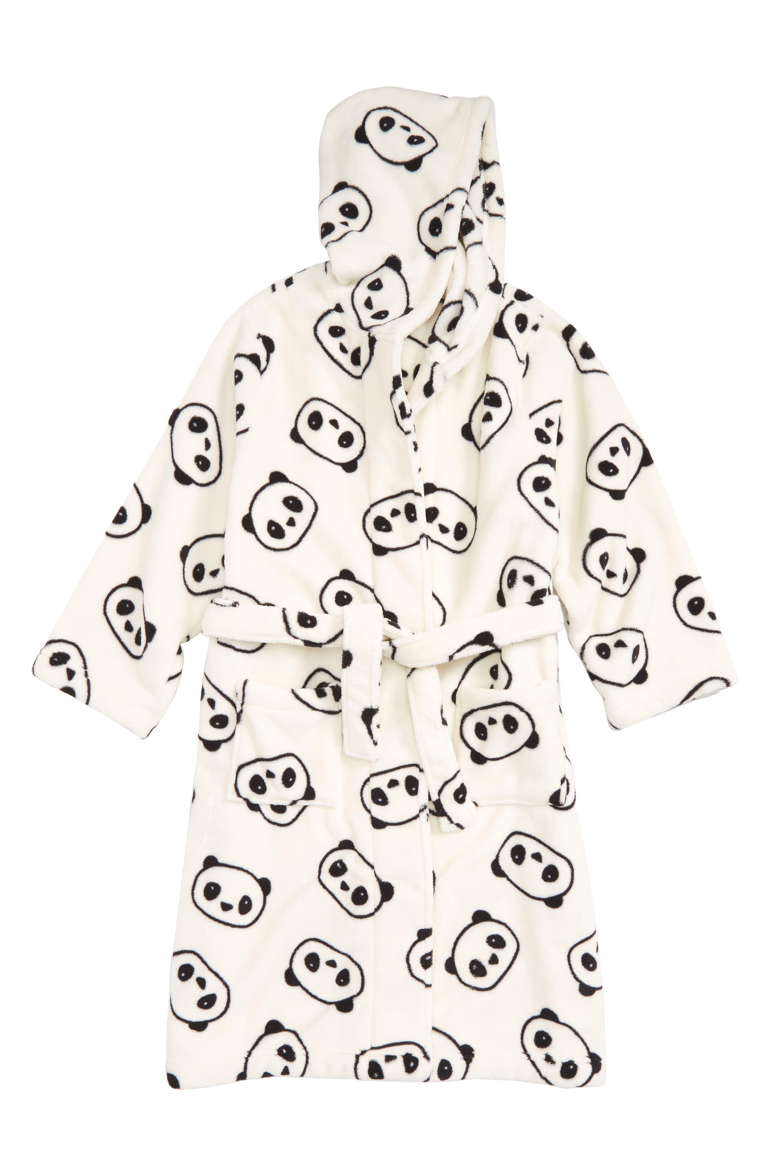 Hooded Fleece Robe,                         Main,                         color, Ivory Egret Pandas