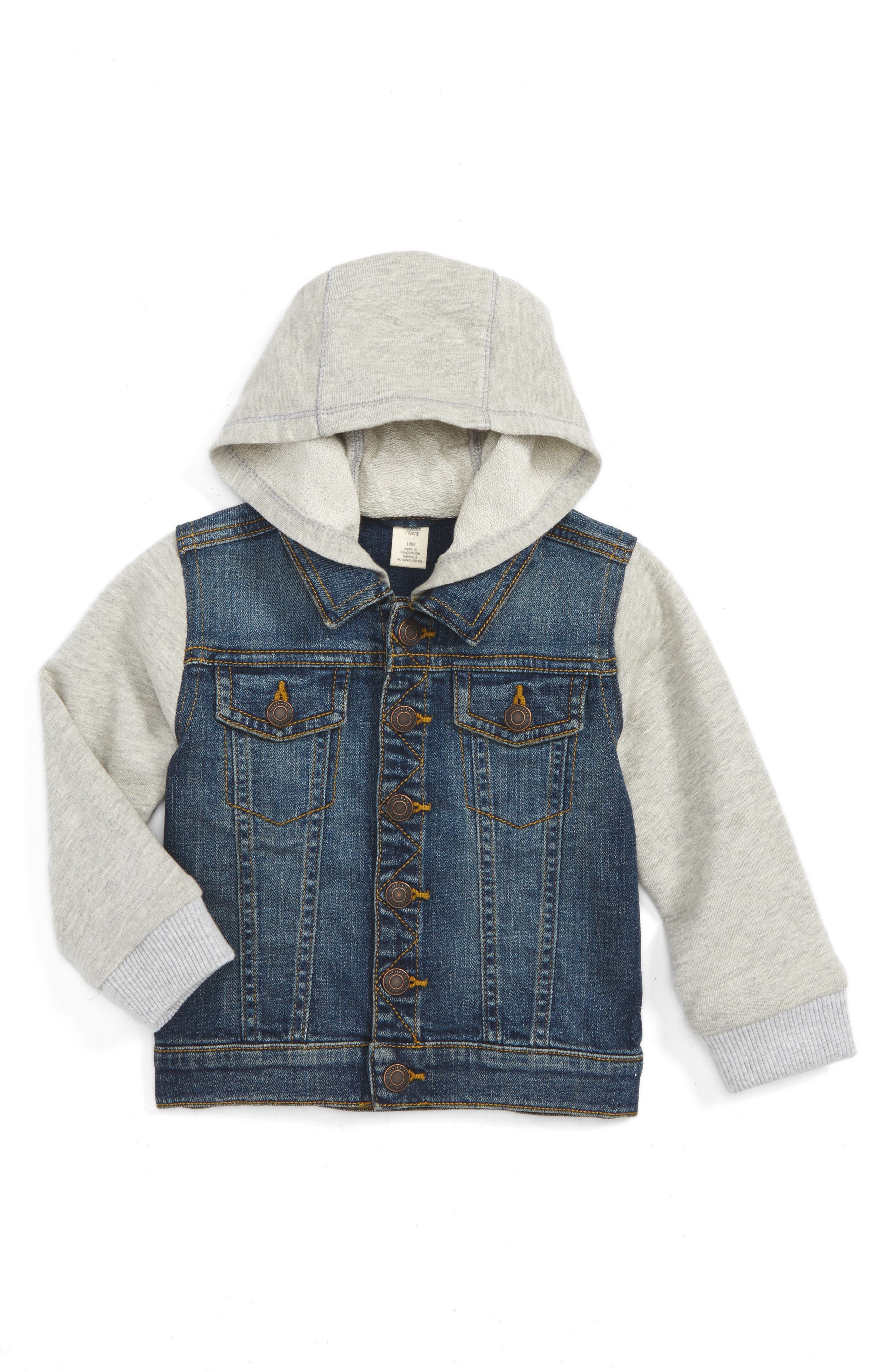 Hooded Denim Jacket,                         Main,                         color, Cascade Medium Wash