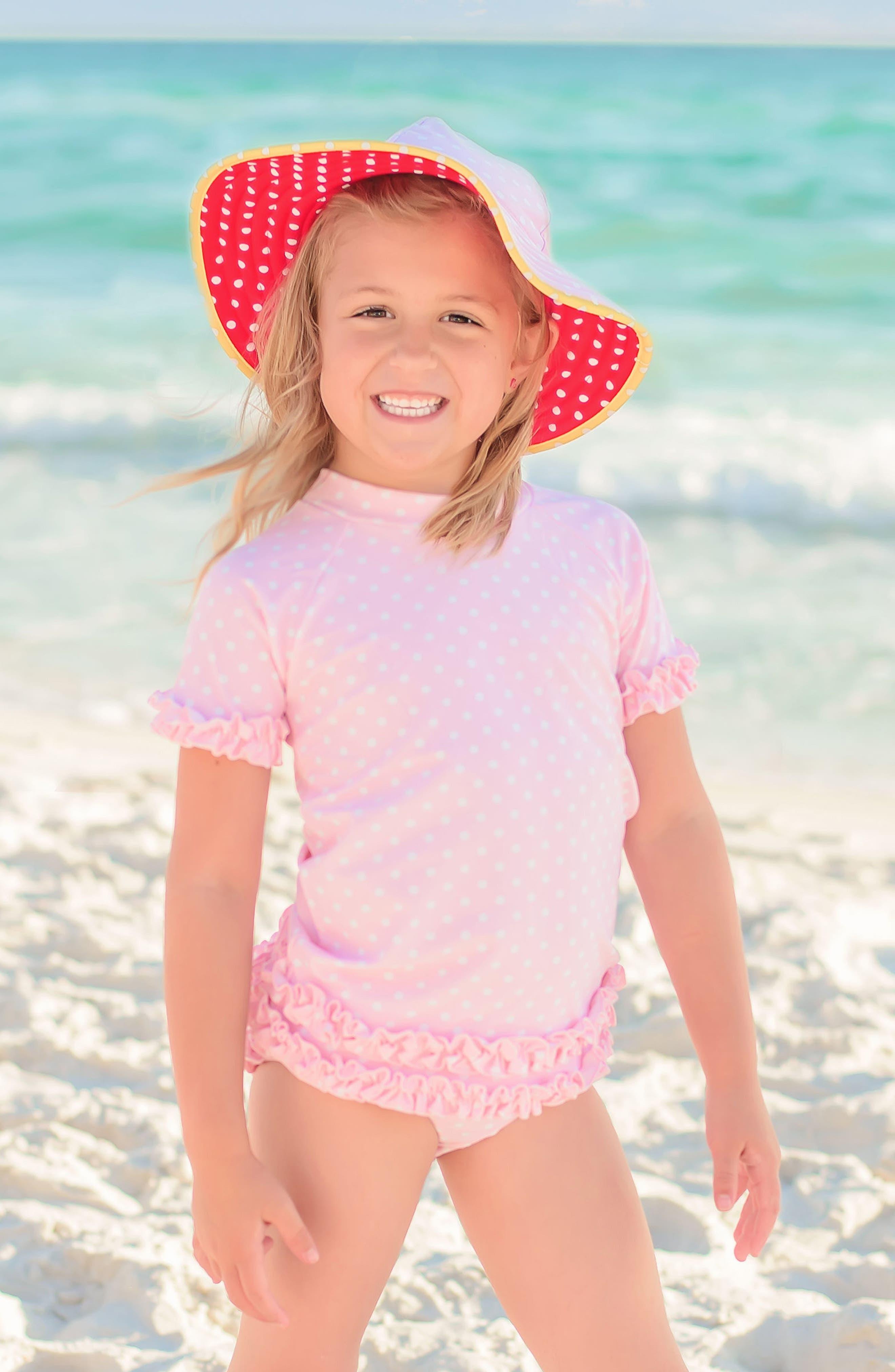 Two-Piece Rashguard Swimsuit & Hat Set,                             Alternate thumbnail 3, color,                             Pink