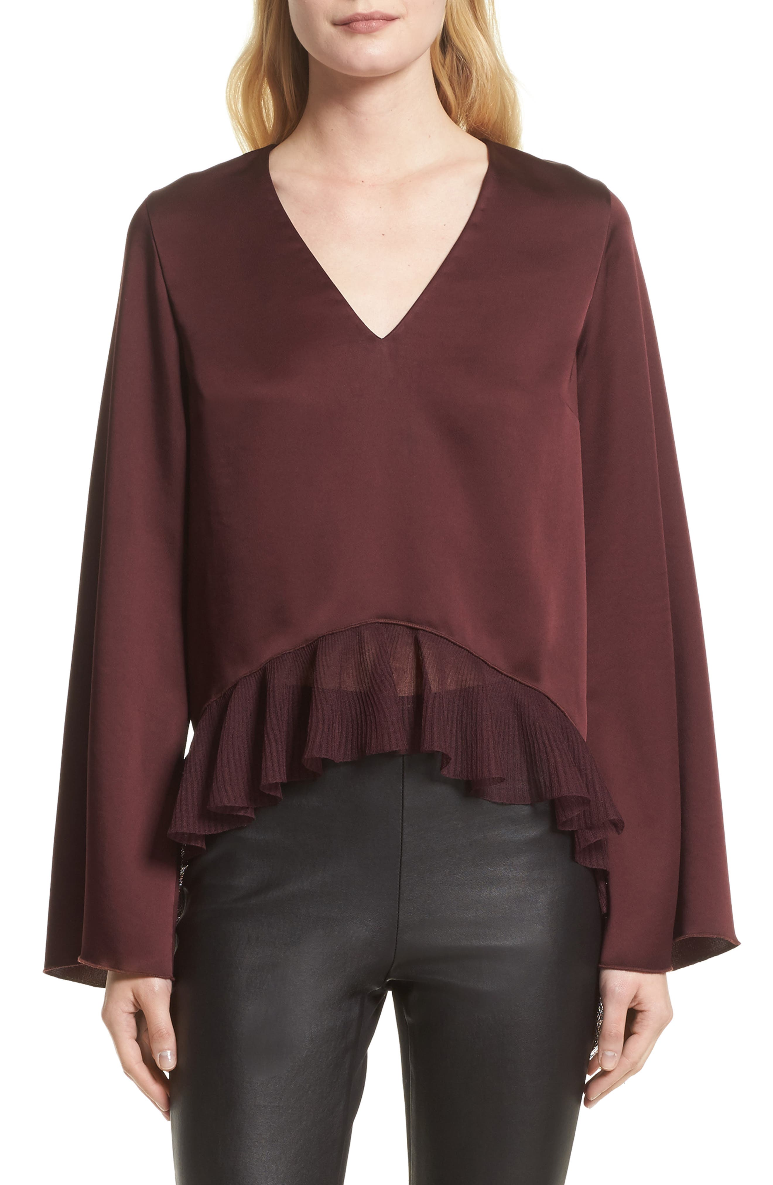 Main Image - Elizabeth and James Heath Ruffle Hem Top (Nordstrom Exclusive)