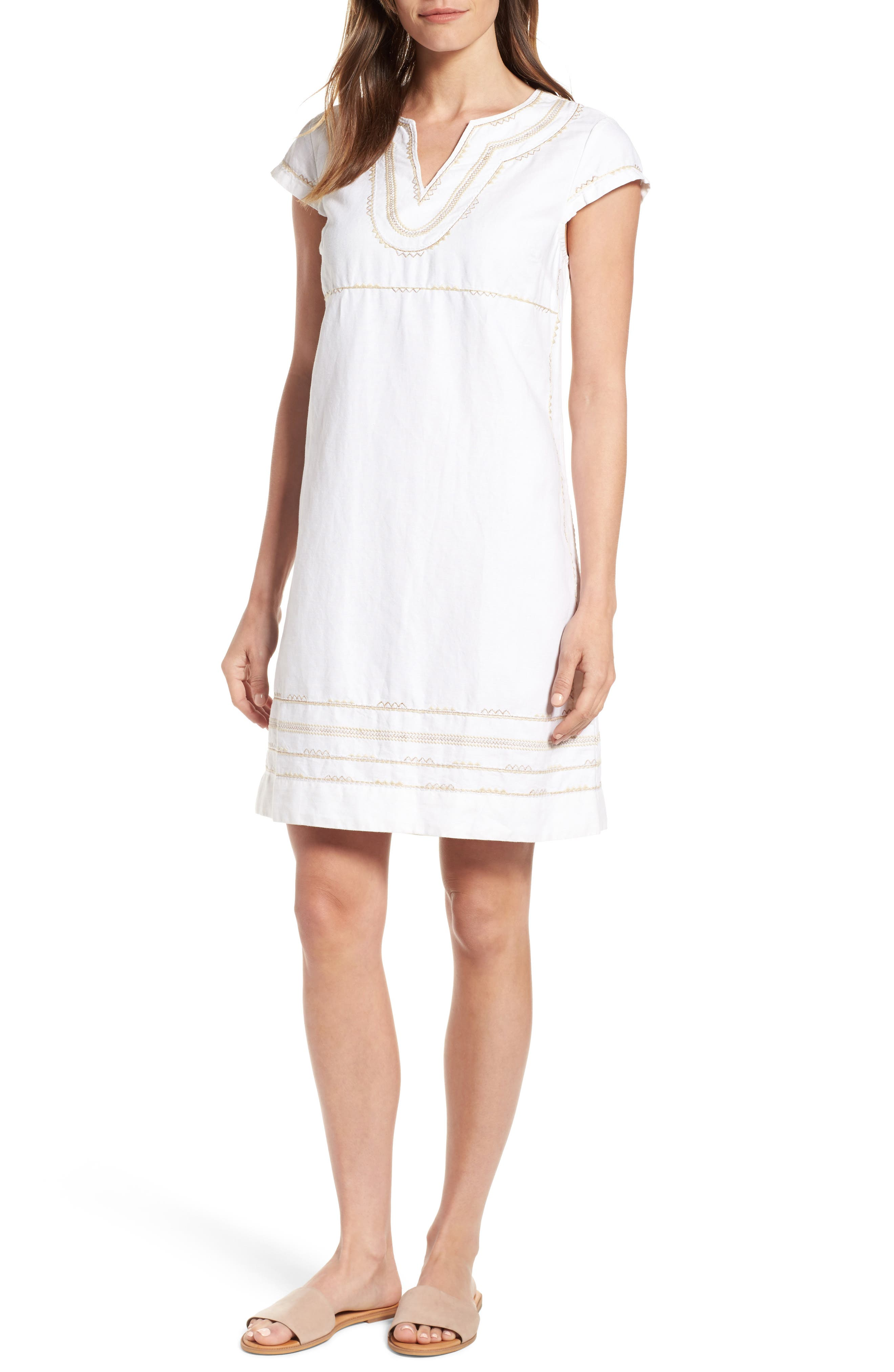 Embroidered Linen & Cotton Shift Dress,                         Main,                         color, Bedouin Sand