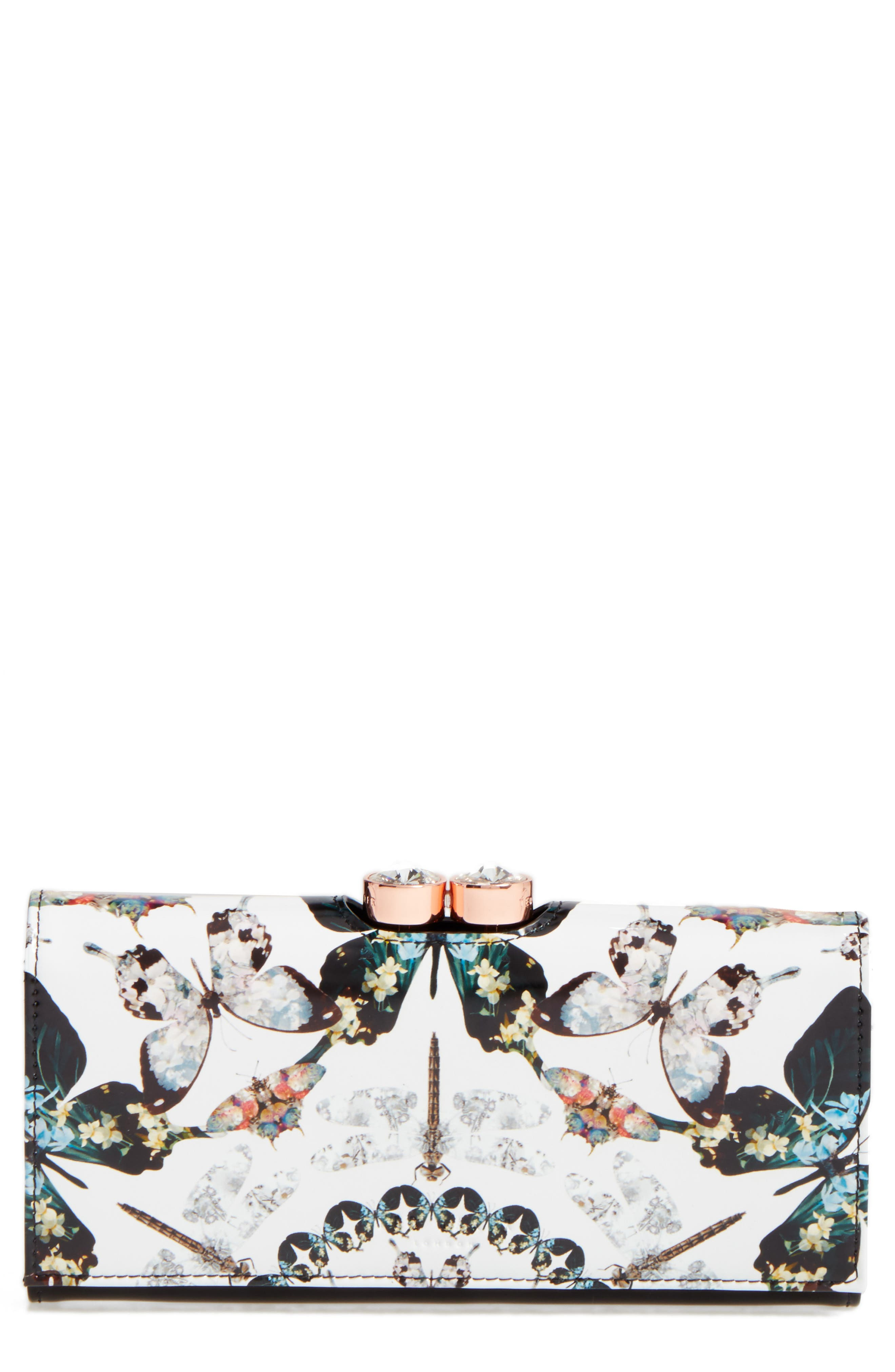 Ted Baker London Butterfly Print Leather Matinée Wallet (Nordstrom Exclusive)