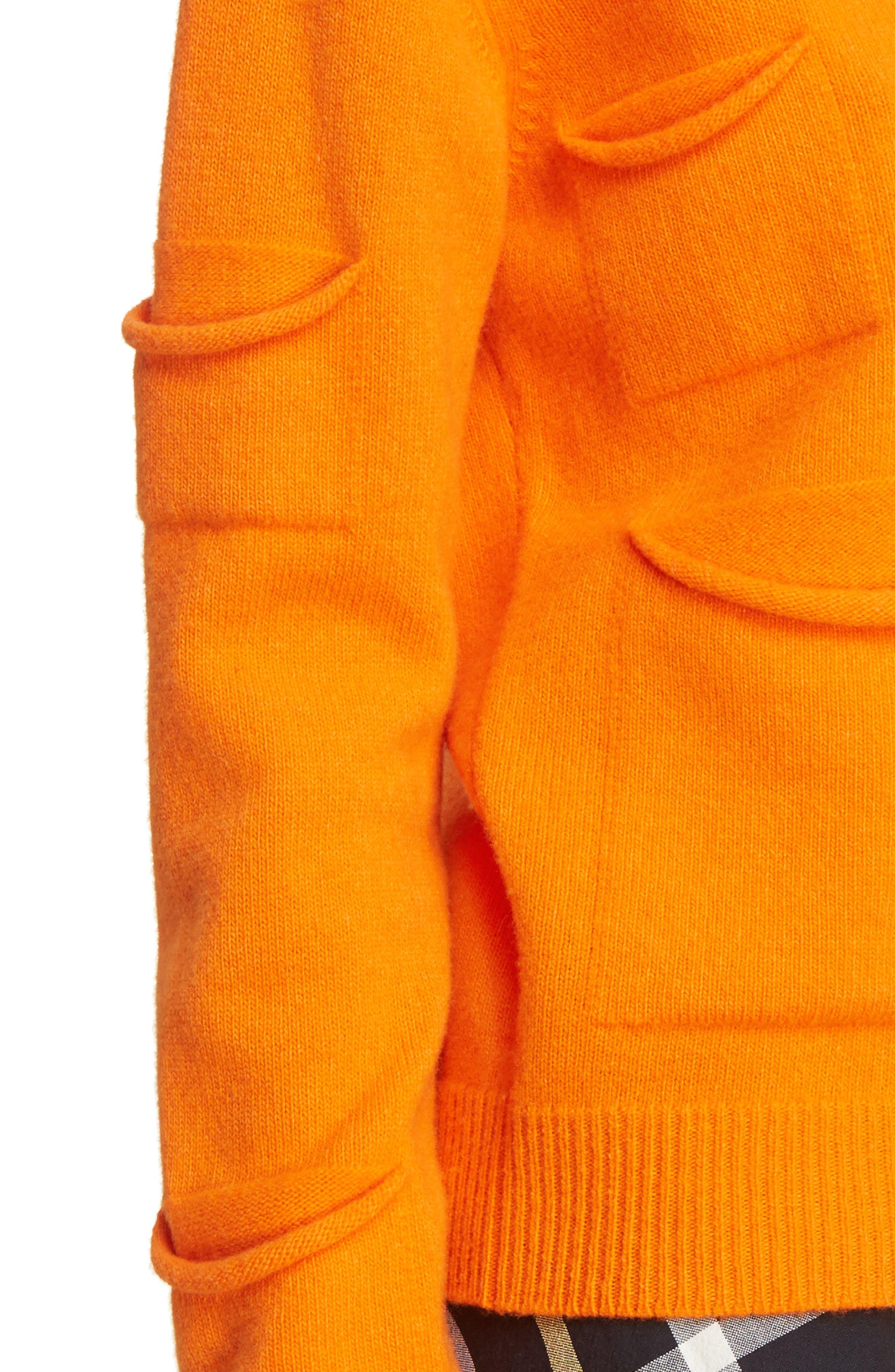 J.W.ANDERSON Multi Pocket Crewneck Sweater,                             Alternate thumbnail 5, color,                             Tangerine