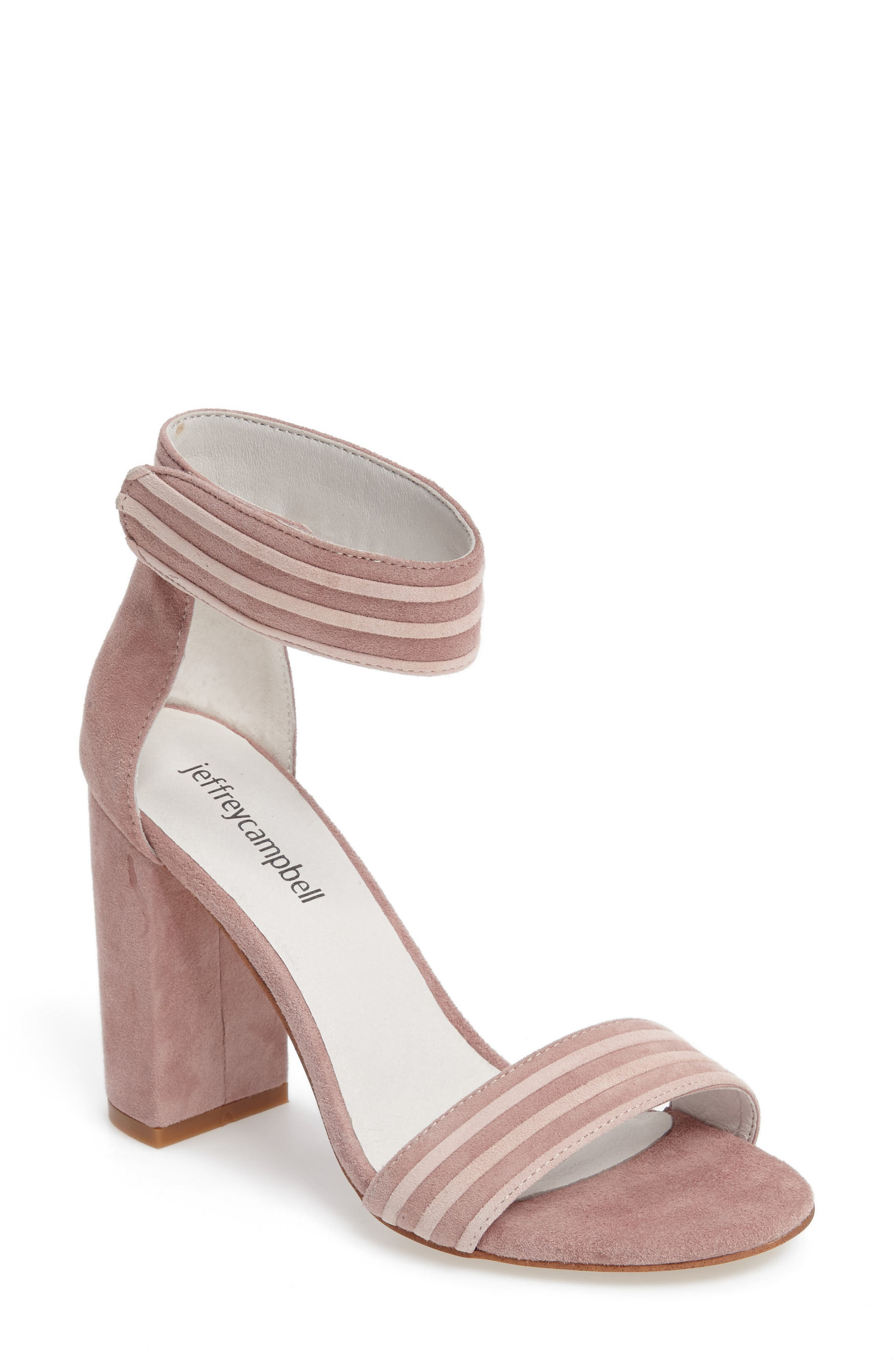 Lindsay 2 Ankle Strap Sandal,                             Main thumbnail 1, color,                             Pink Suede Combo