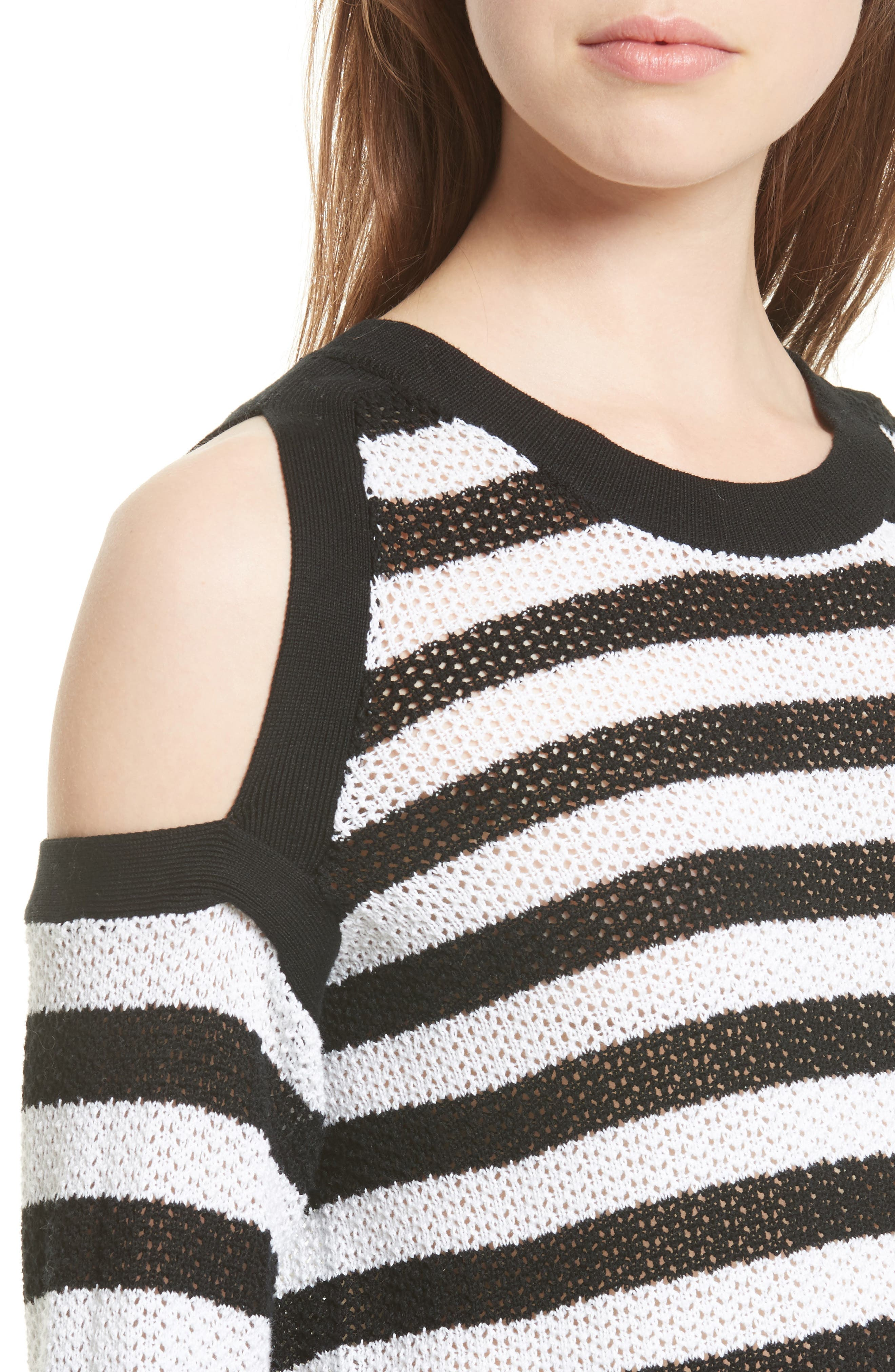 Tracey Cold Shoulder Cotton Sweater,                             Alternate thumbnail 4, color,                             Black/ White