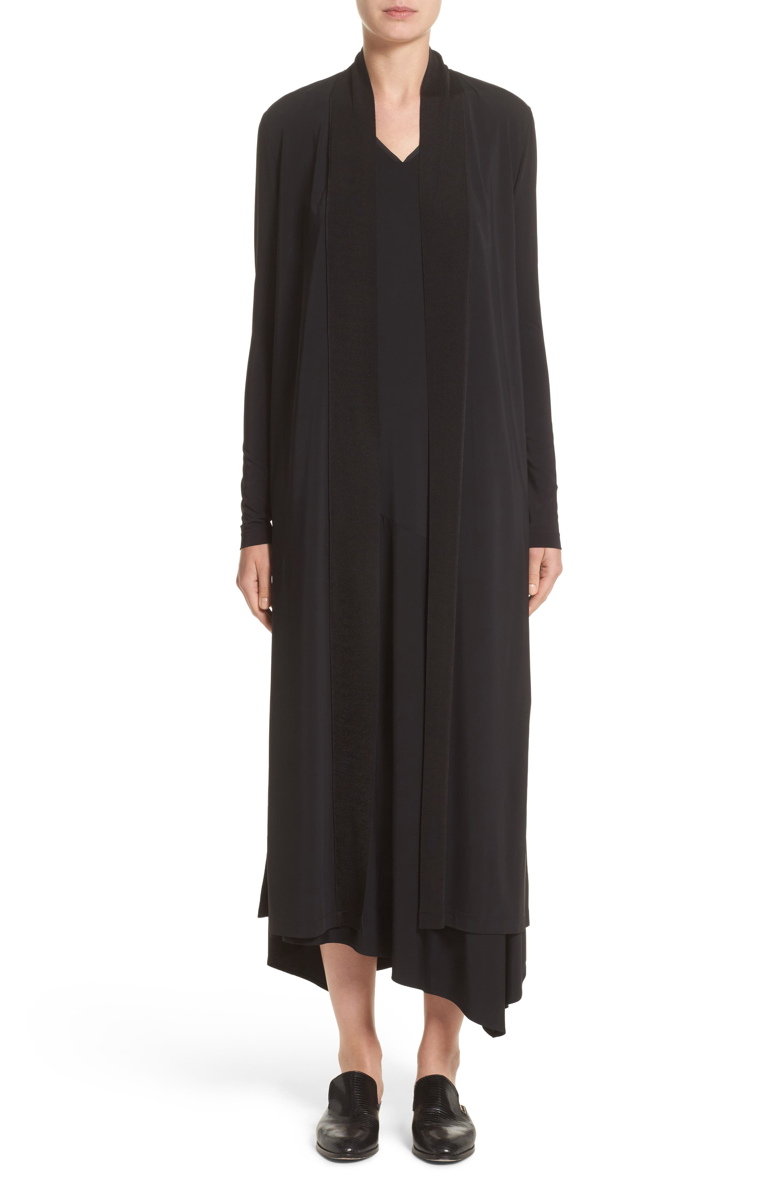 Cultivated Crepe Jersey Duster,                         Main,                         color, Black