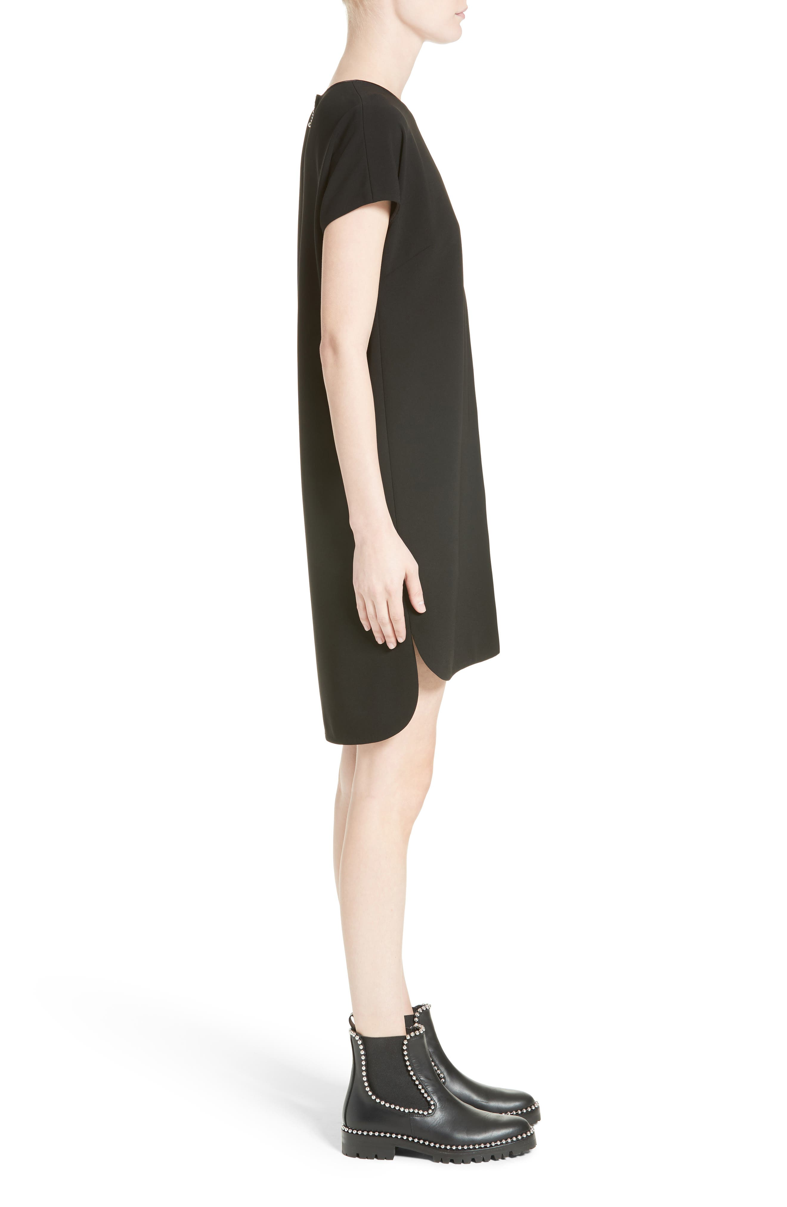 Crepe Shift Dress,                             Alternate thumbnail 5, color,                             Onyx