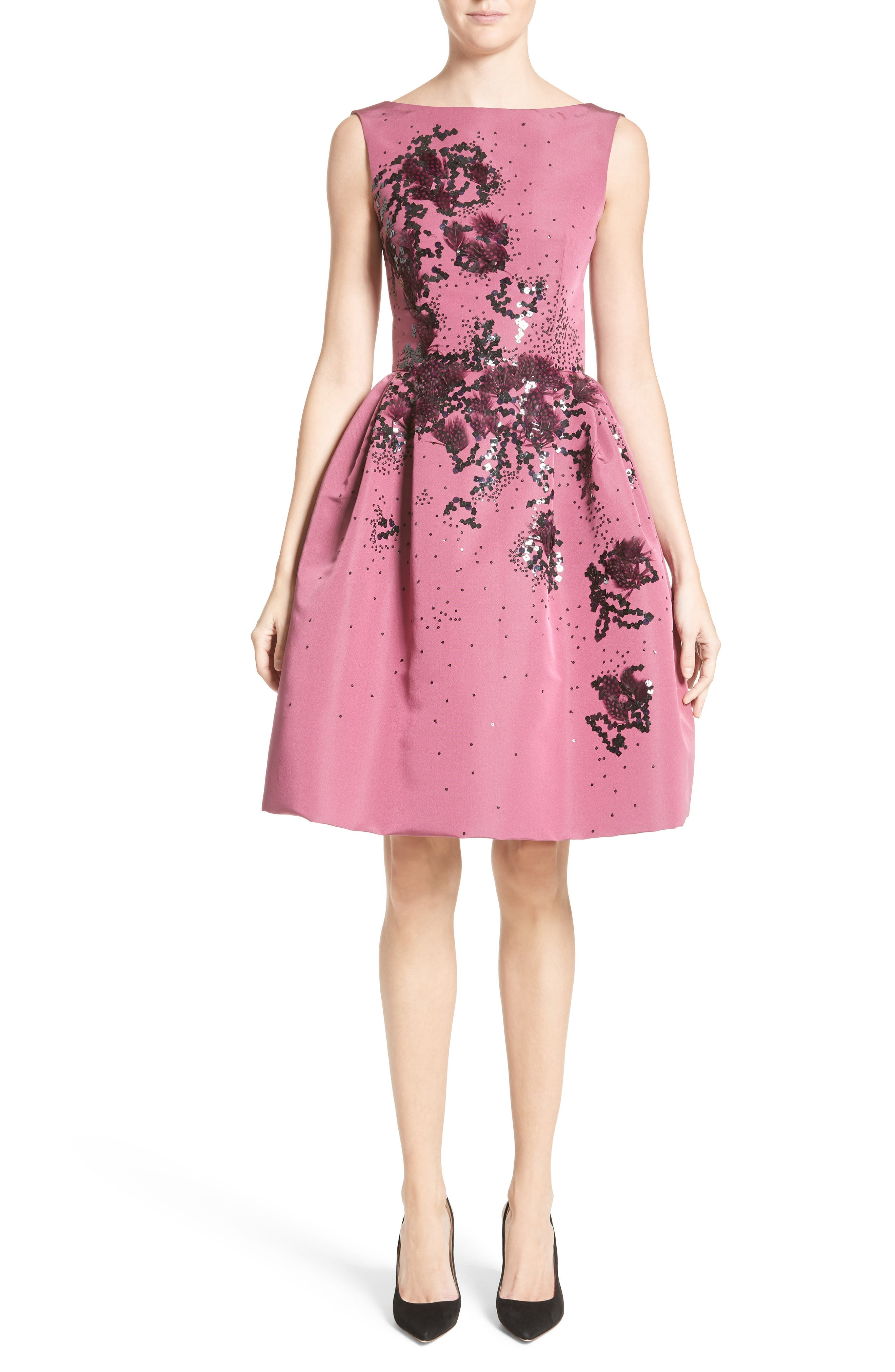 Main Image - Carolina Herrera Embellished Silk Faille Dress
