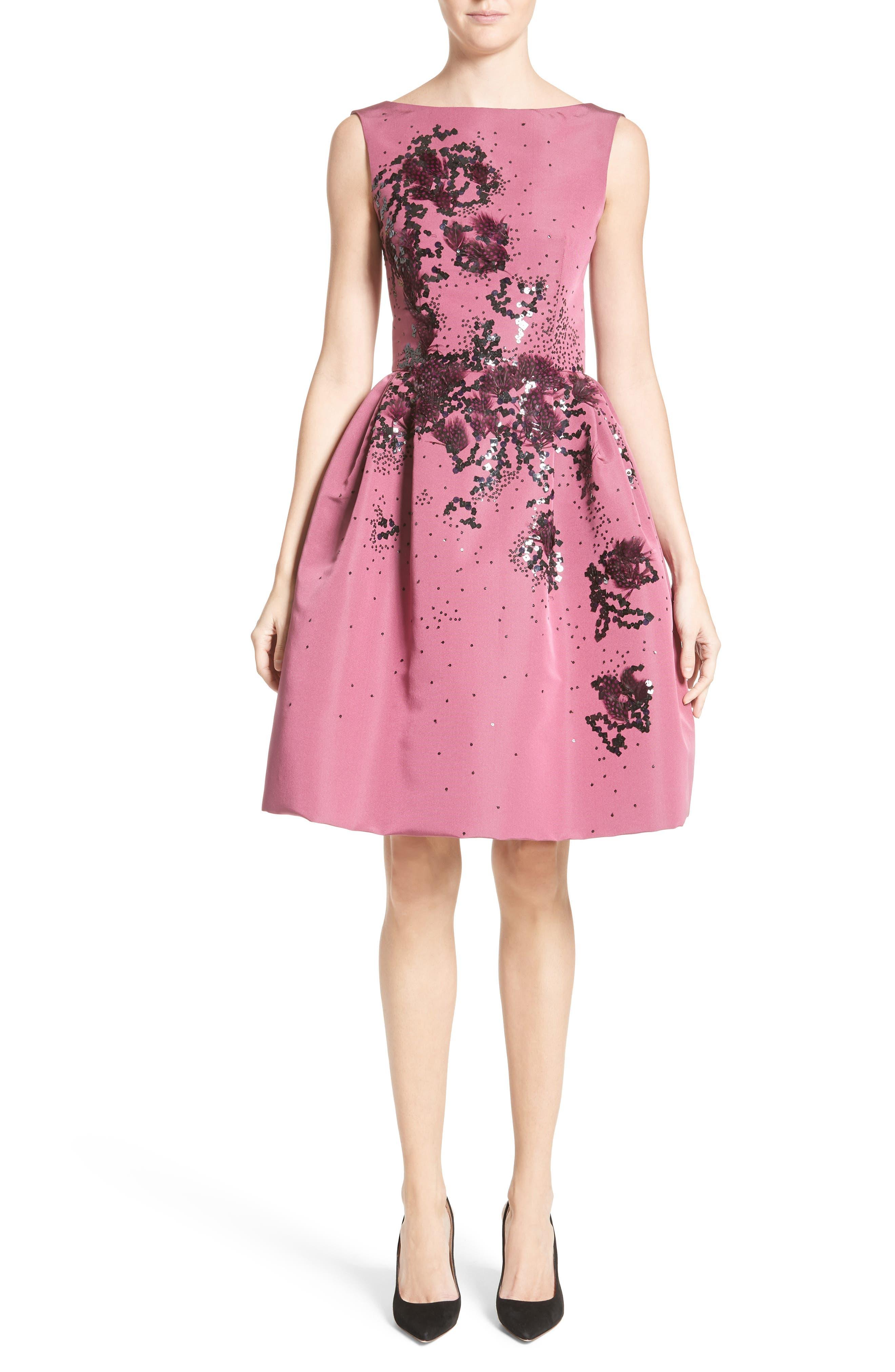 Embellished Silk Faille Dress,                         Main,                         color, Sangria