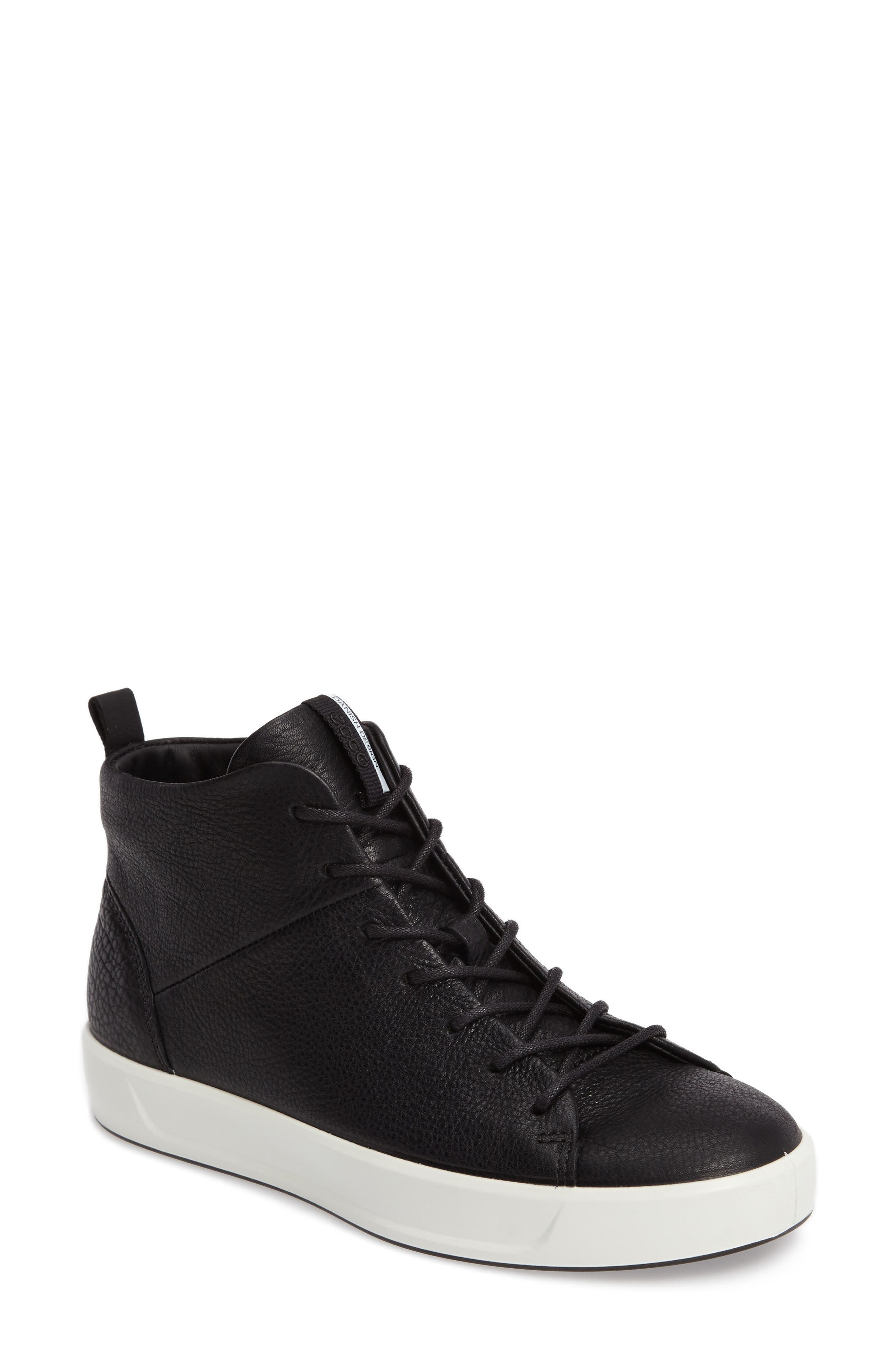 Soft 8 High Top Sneaker,                             Main thumbnail 1, color,                             Black Leather