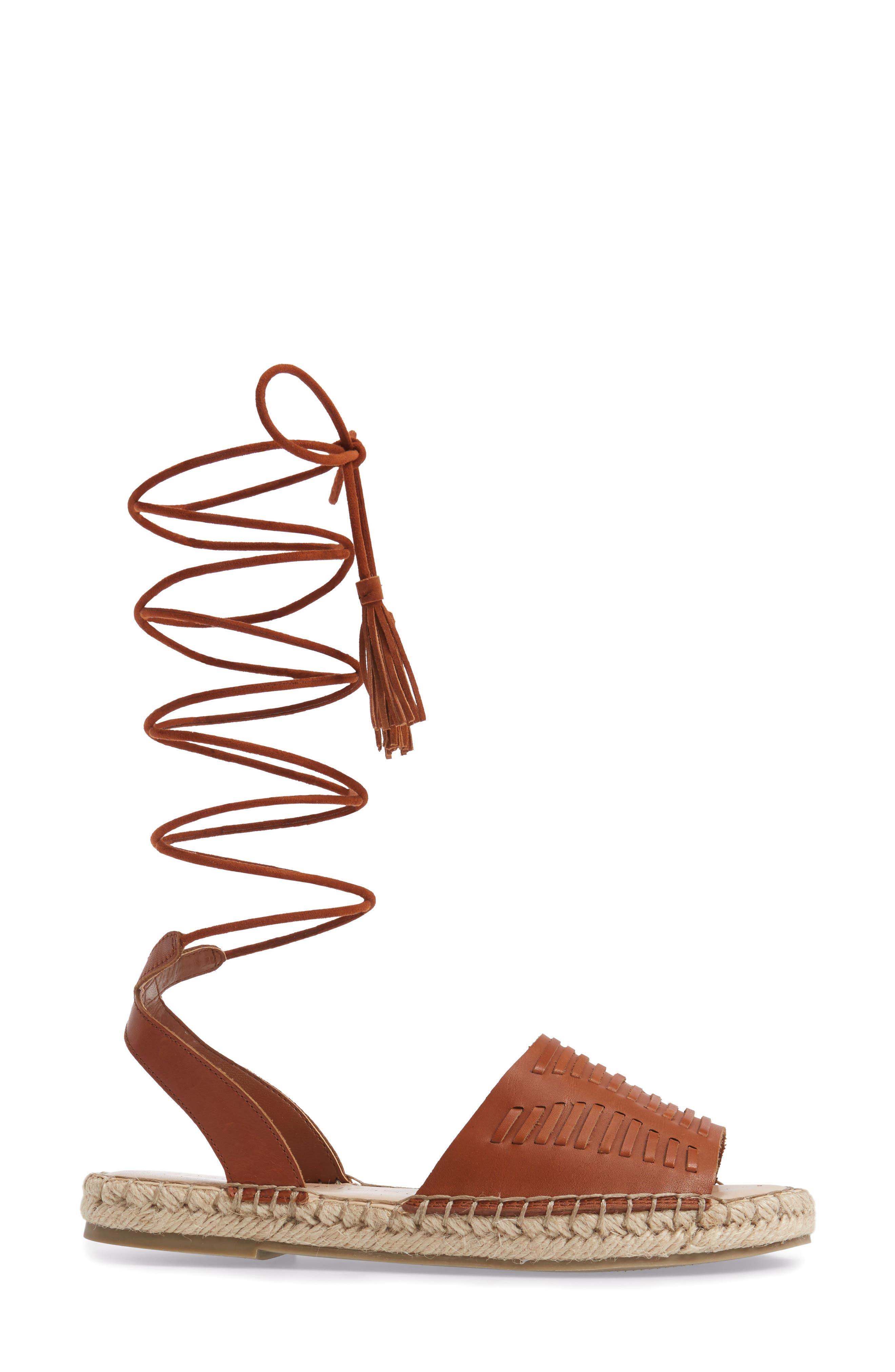 Clover Ankle Wrap Espadrille Sandal,                             Alternate thumbnail 3, color,                             Cognac Leather