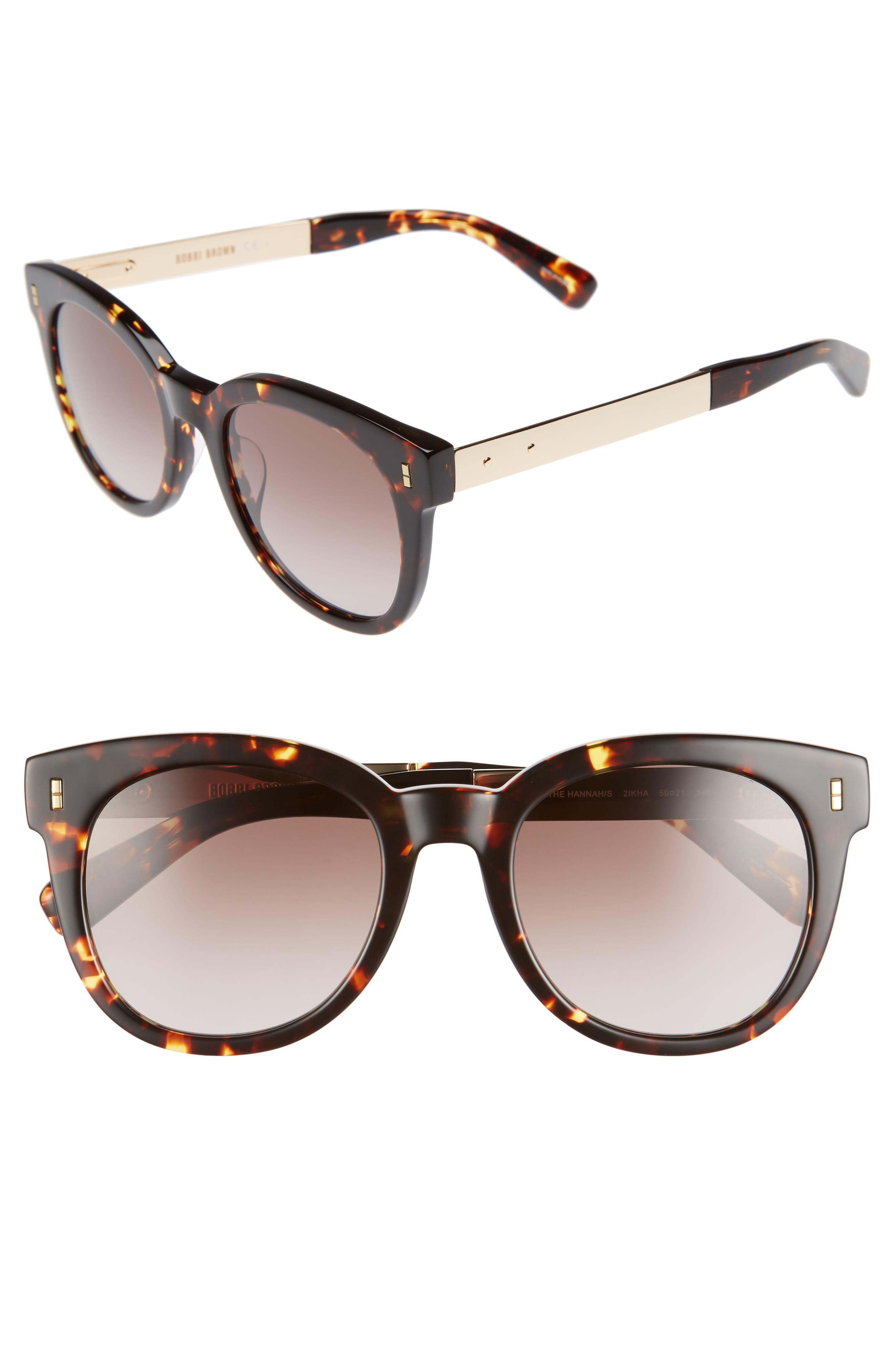 The Hannah 50mm Gradient Sunglasses,                             Main thumbnail 1, color,                             Havana/ Gold