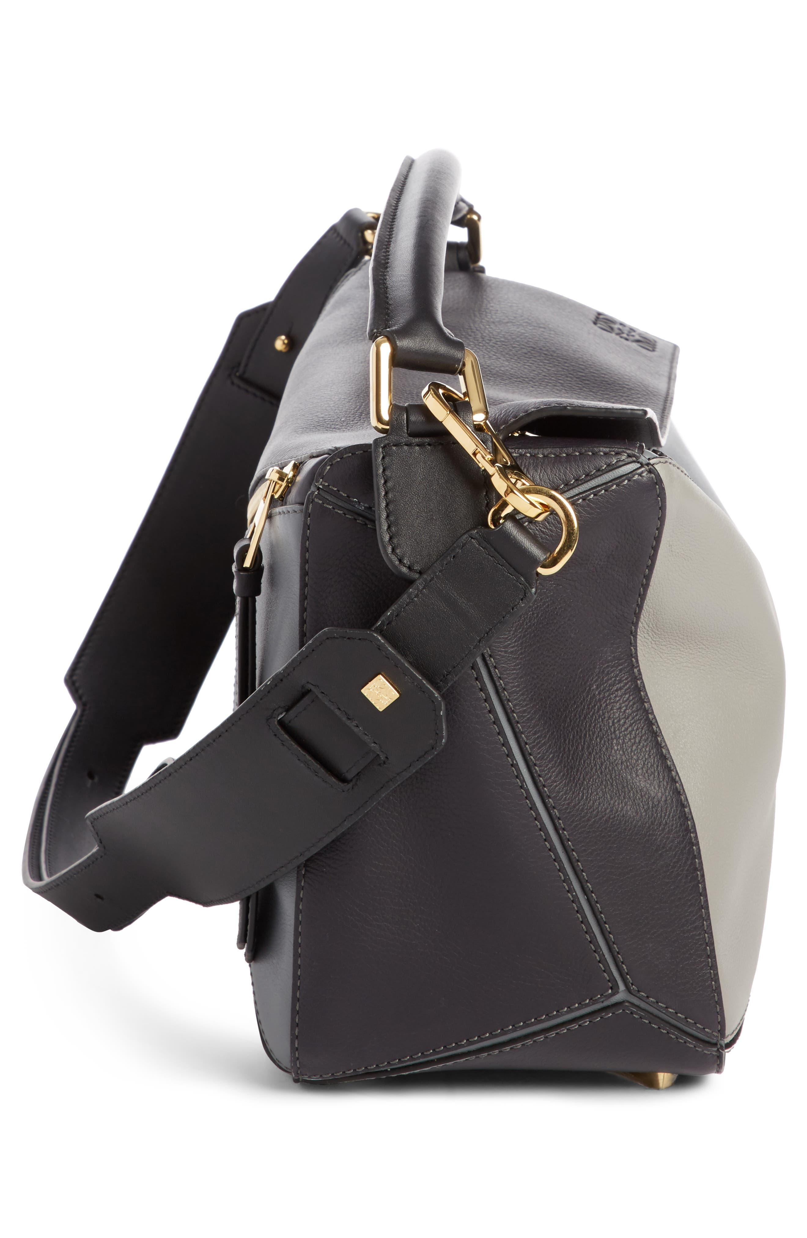 Medium Puzzle Colorblock Leather Shoulder Bag,                             Alternate thumbnail 3, color,                             Grey Multi Tone