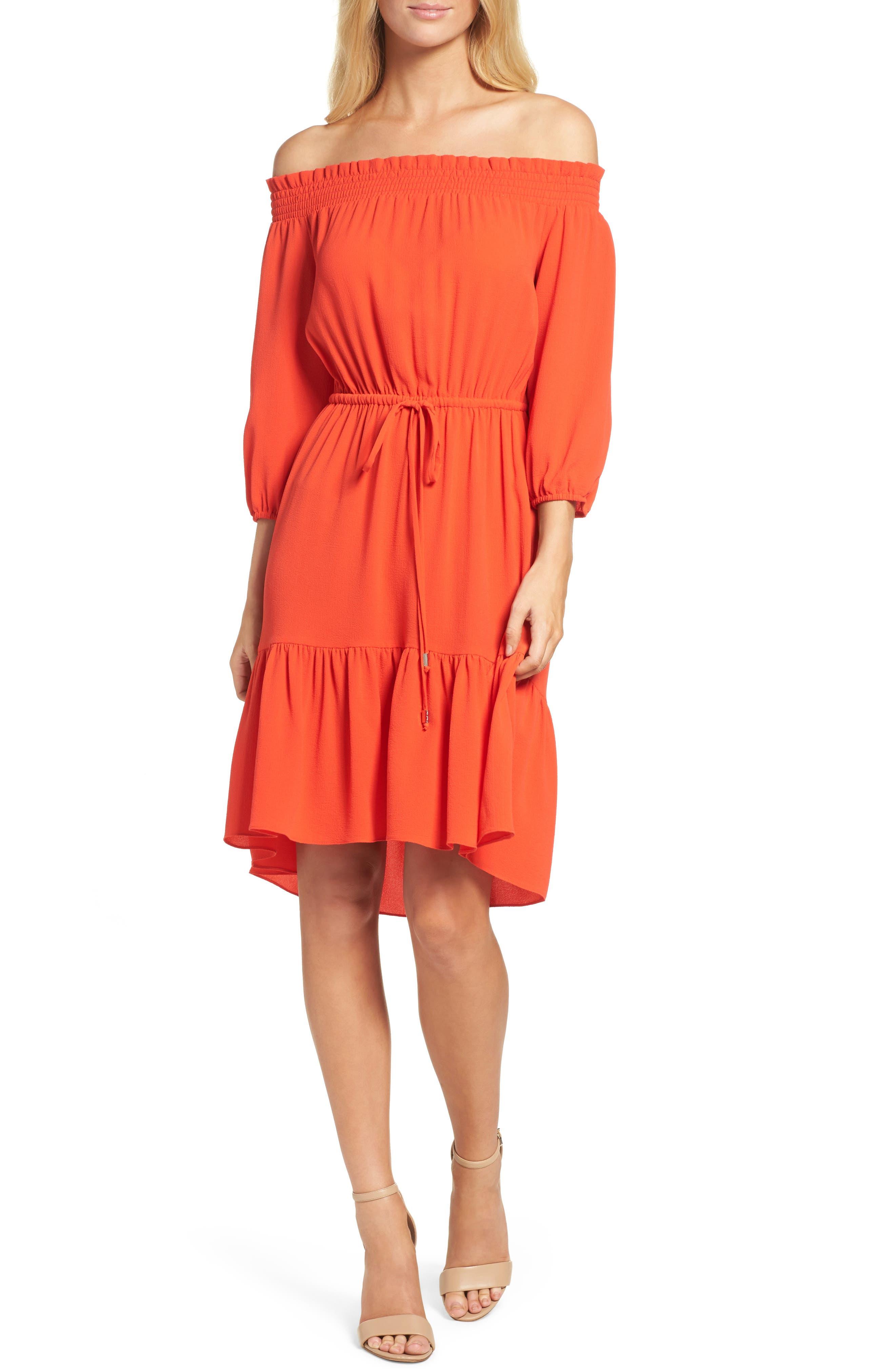 Off the Shoulder Crepe Dress,                         Main,                         color, Poppy