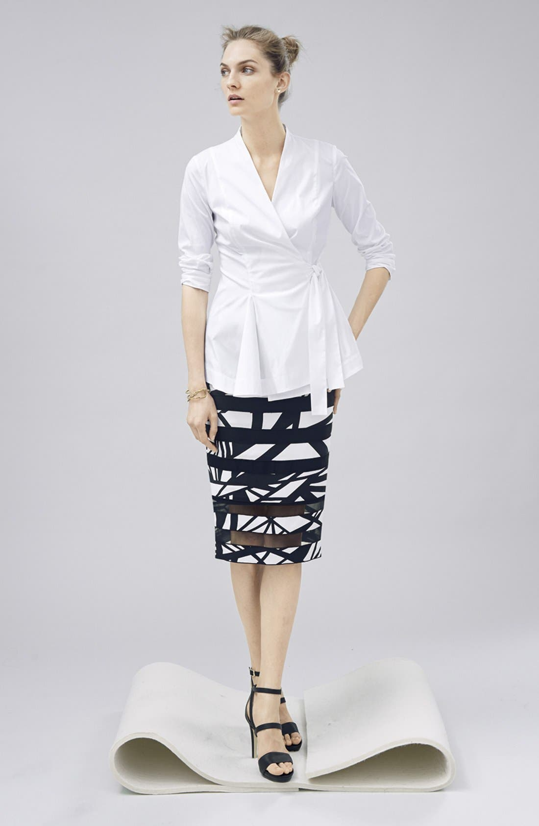 Alternate Image 4  - Lafayette 148 New York 'Modmix' Print Silk Pencil Skirt