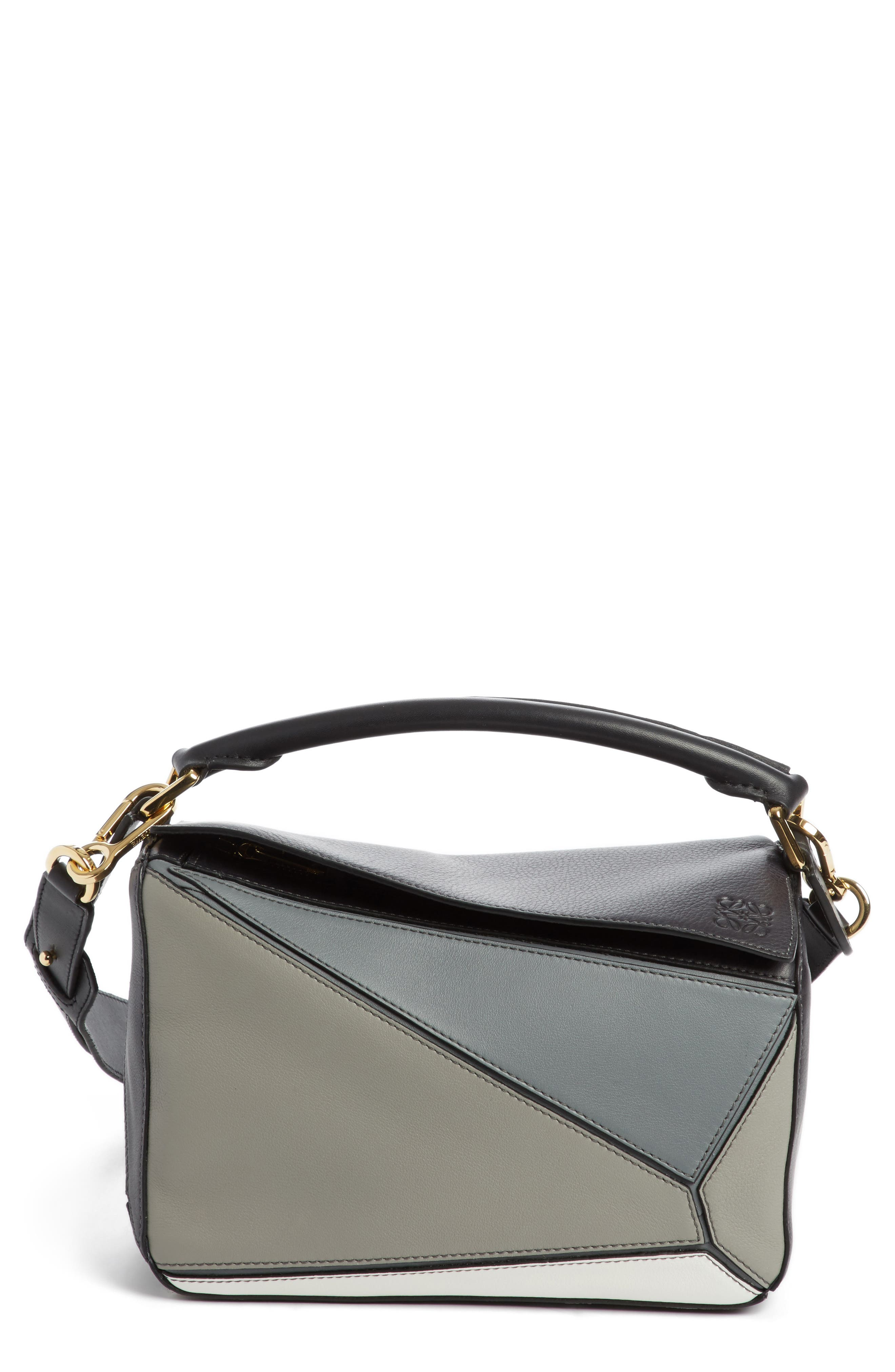 Small Puzzle Colorblock Calfskin Leather Bag,                             Main thumbnail 1, color,                             Grey Multi Tone