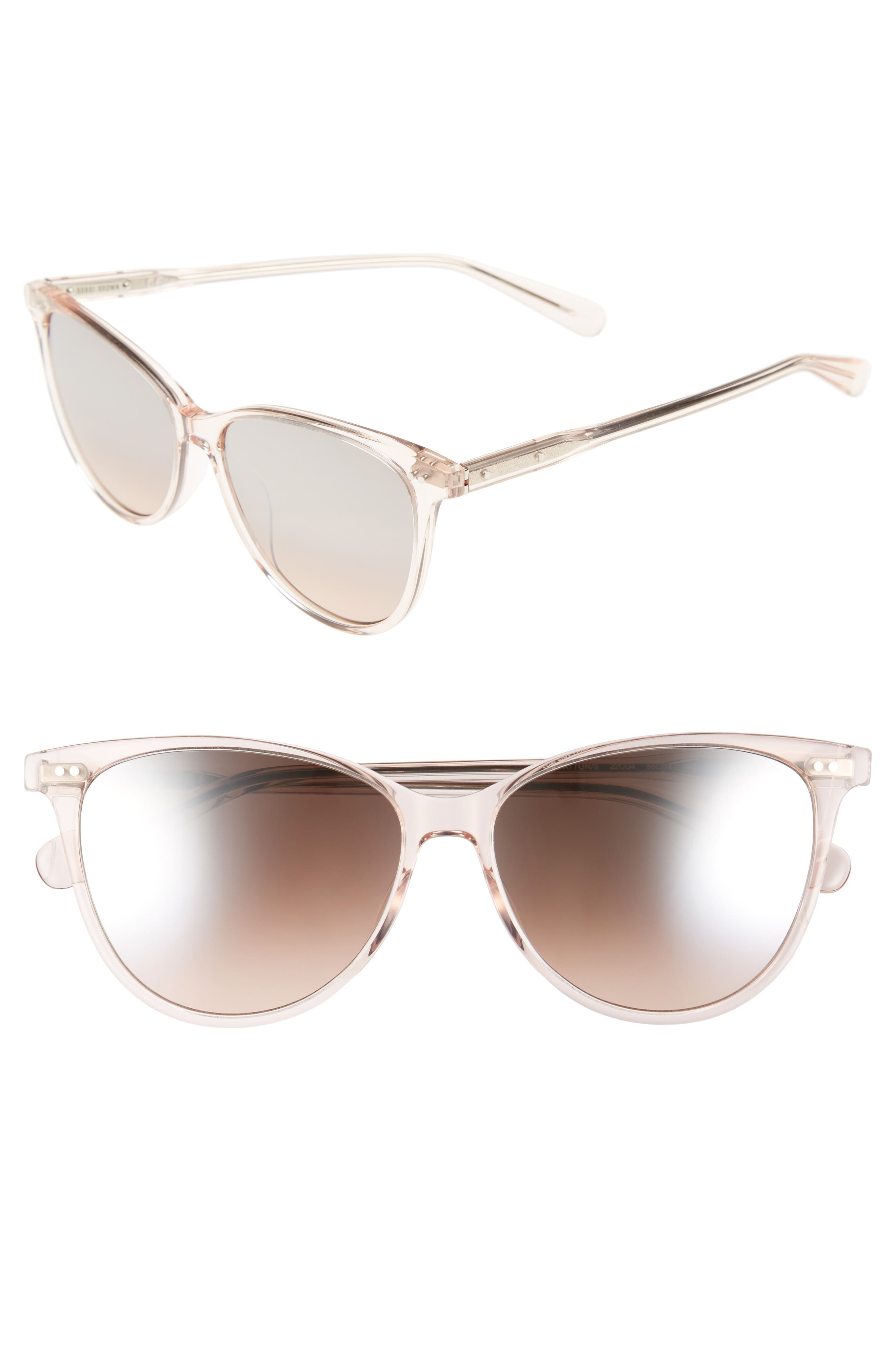 The Patton 55mm Gradient Cat Eye Sunglasses,                         Main,                         color, Crystal/ Nude