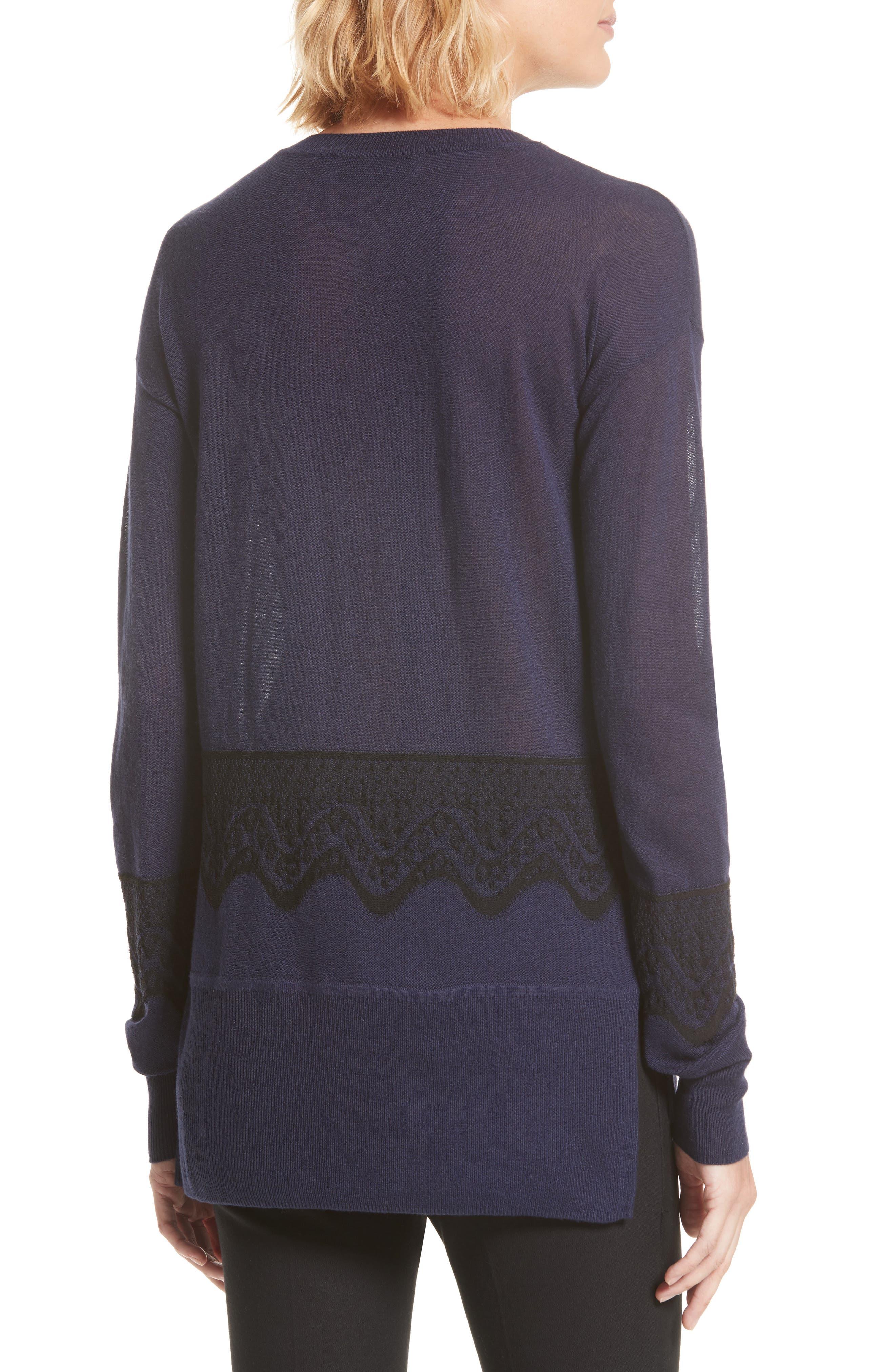 Alternate Image 3  - Derek Lam 10 Crosby Lace Hem Silk & Cashmere Pullover