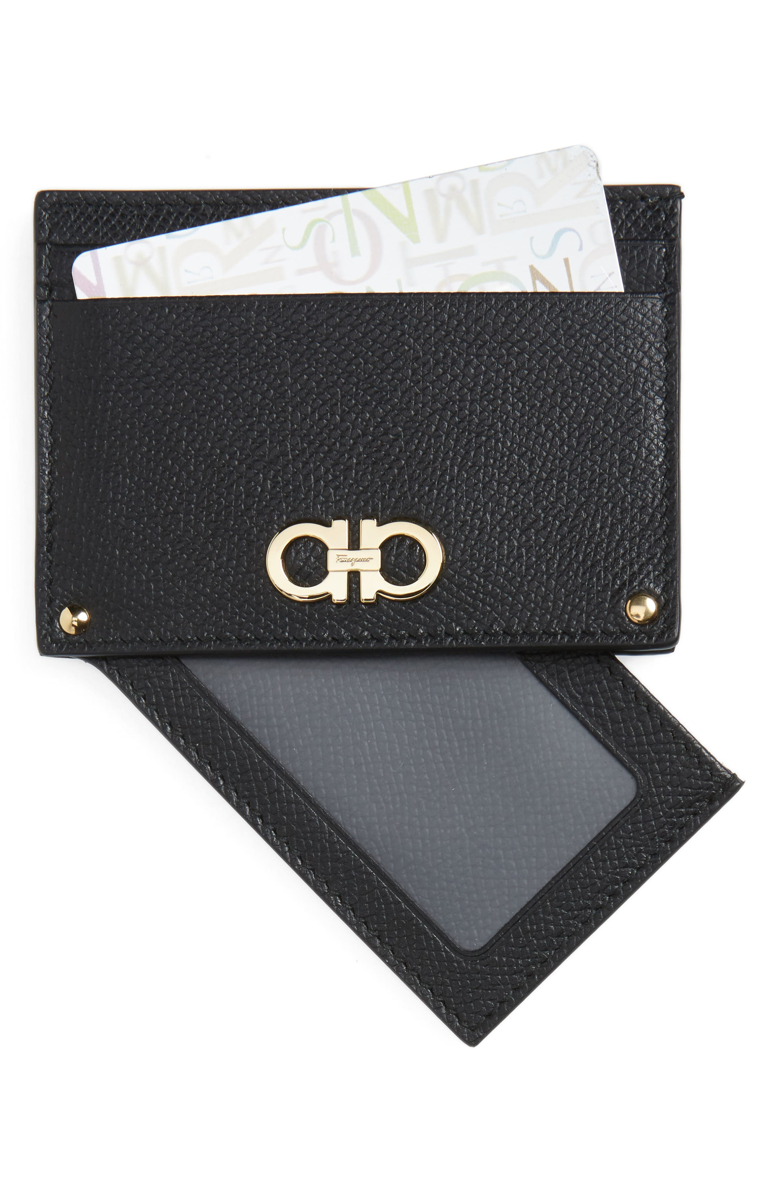 Main Image - Salvatore Ferragamo Gancio Leather Card Case