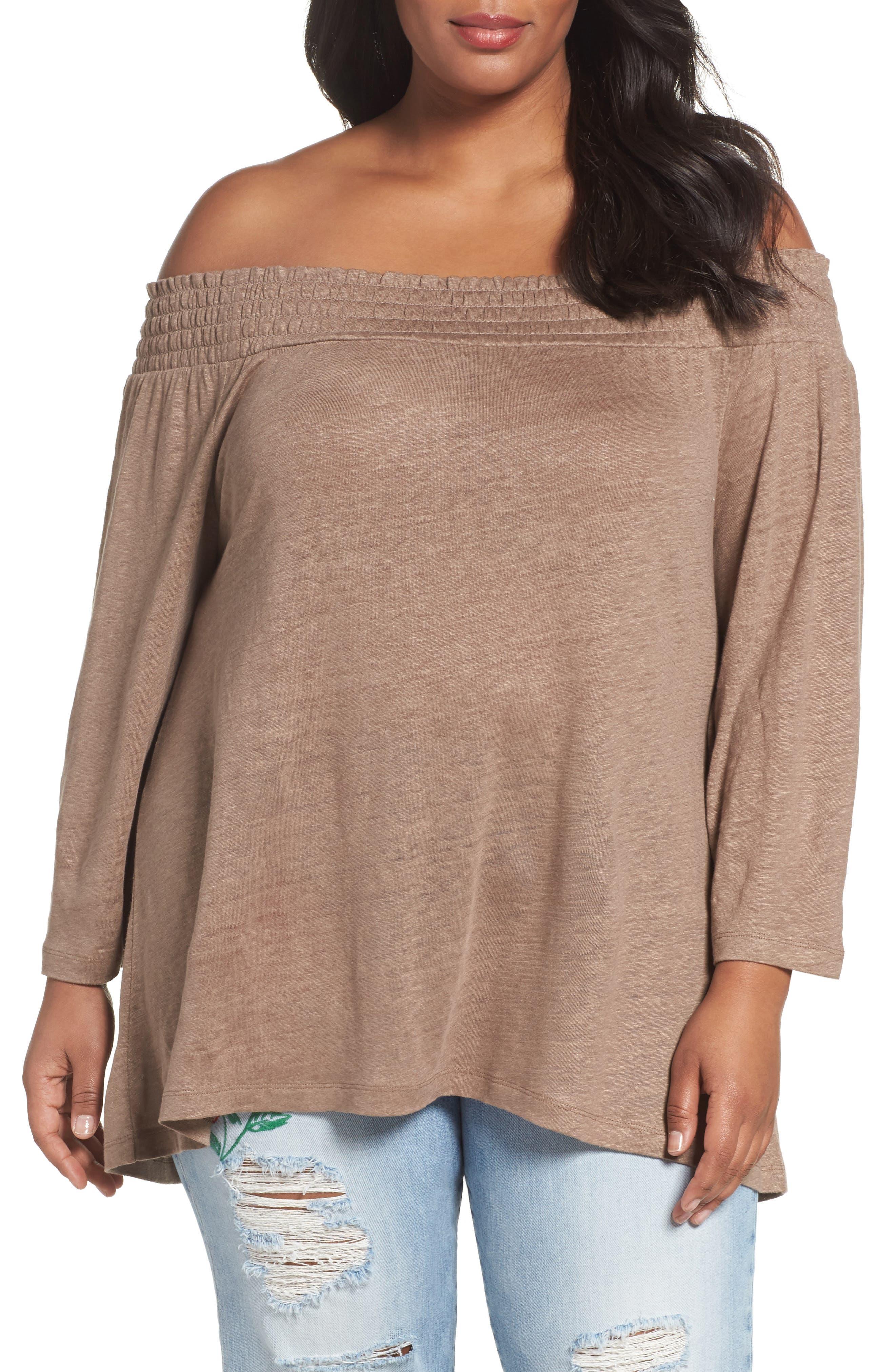 Caslon® Off the Shoulder Slub Linen Top (Plus Size)