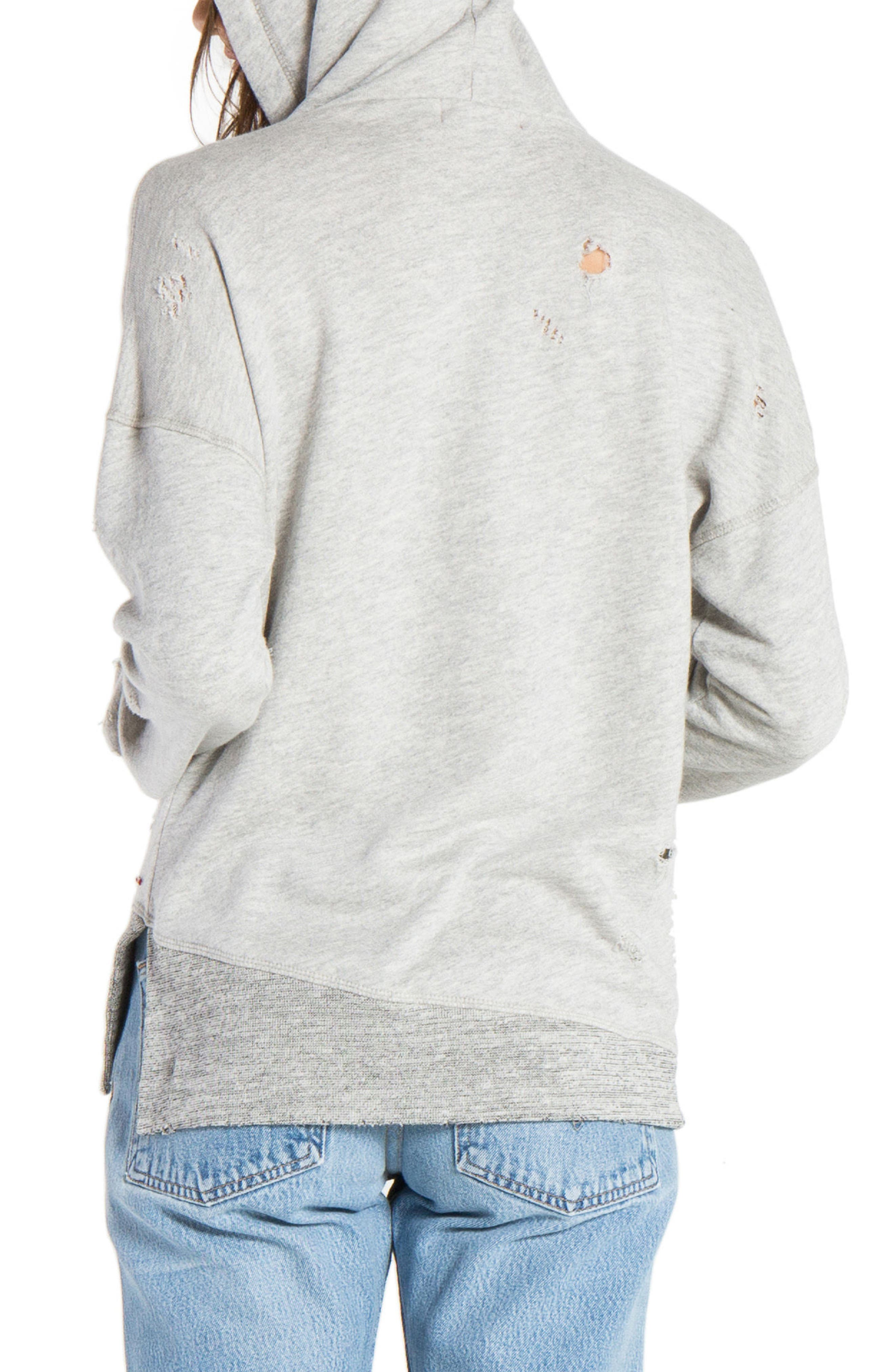 n: PHILANTHROPY Distressed Hooded Sweatshirt,                             Alternate thumbnail 2, color,                             Heather Grey