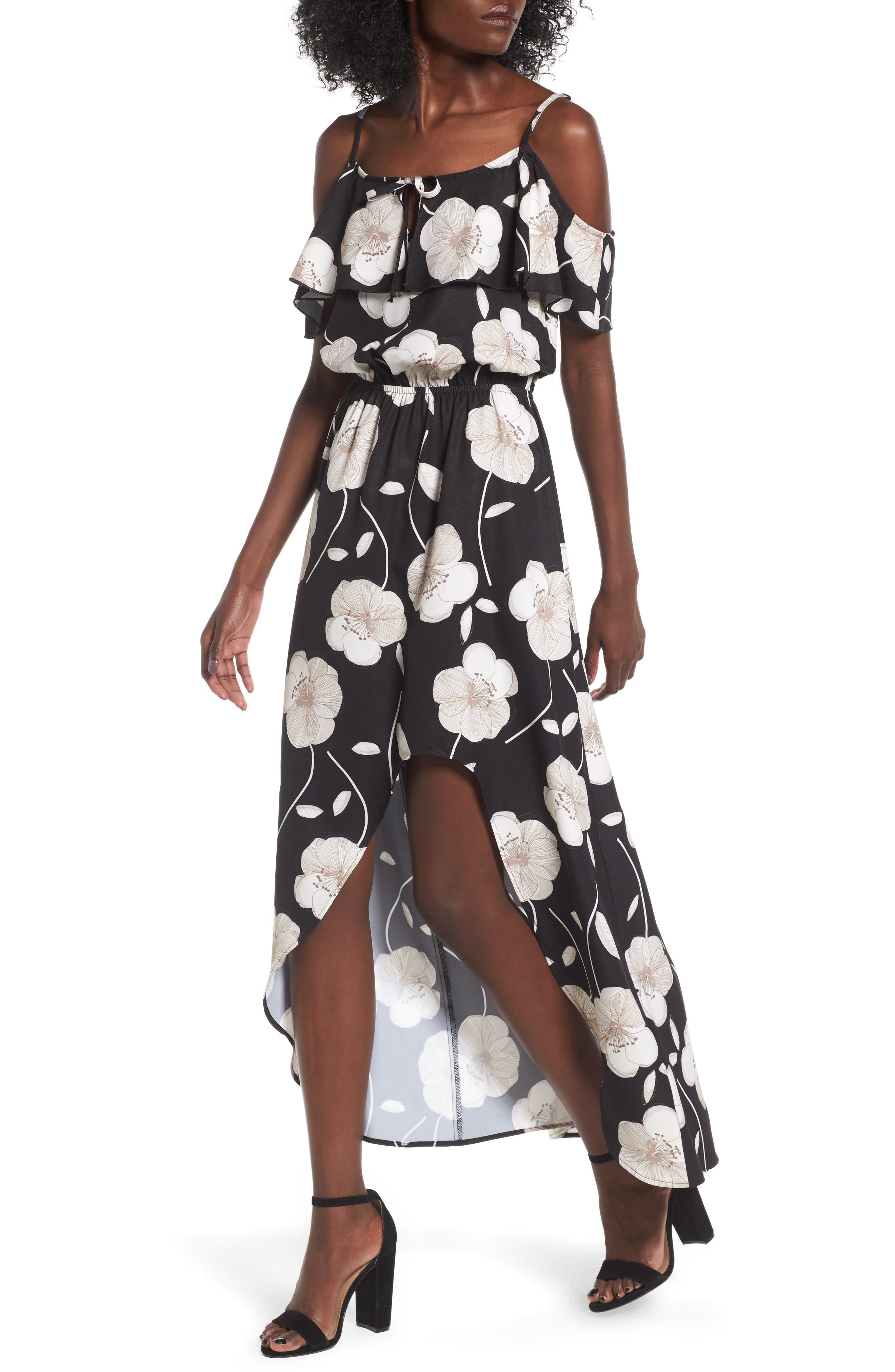 Cold Shoulder Asymmetrical Maxi Dress,                             Alternate thumbnail 4, color,                             Black