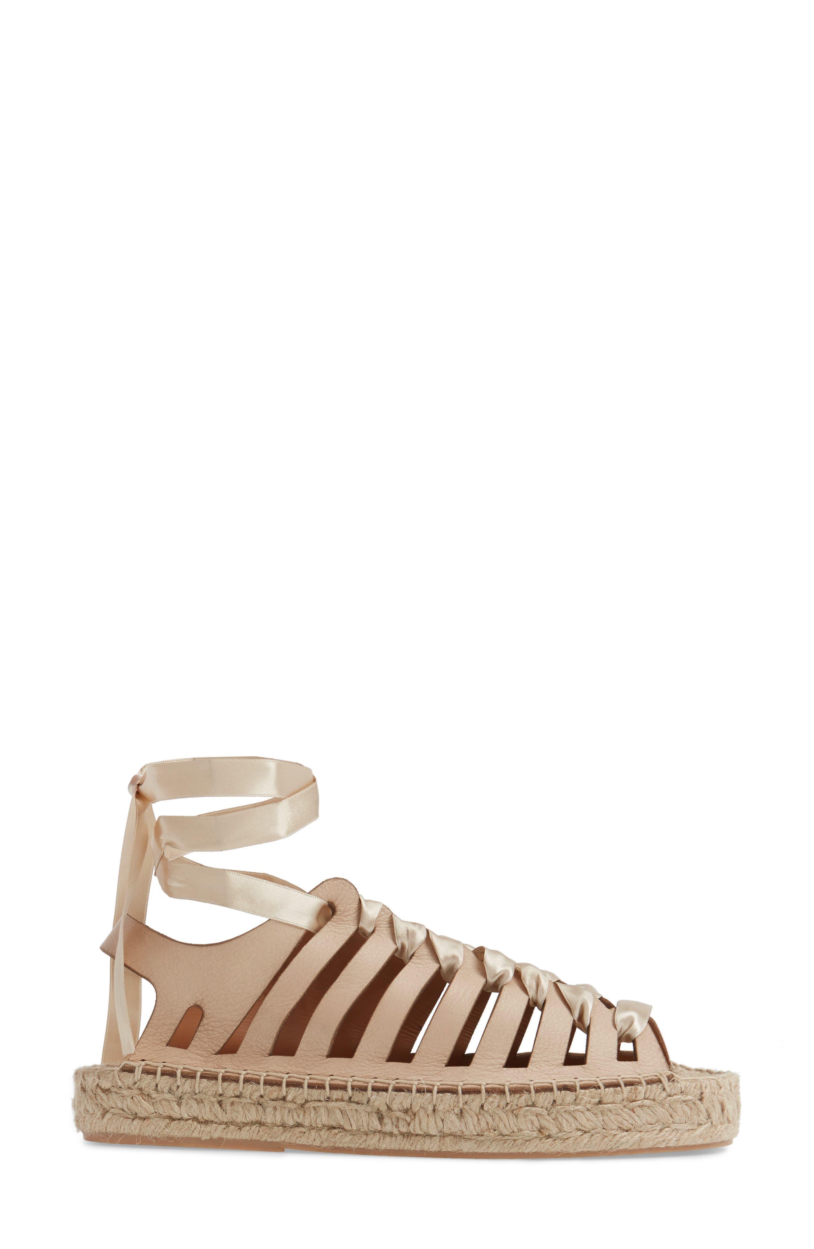 Krown Wraparound Platform Sandal,                             Alternate thumbnail 3, color,                             Nude Leather