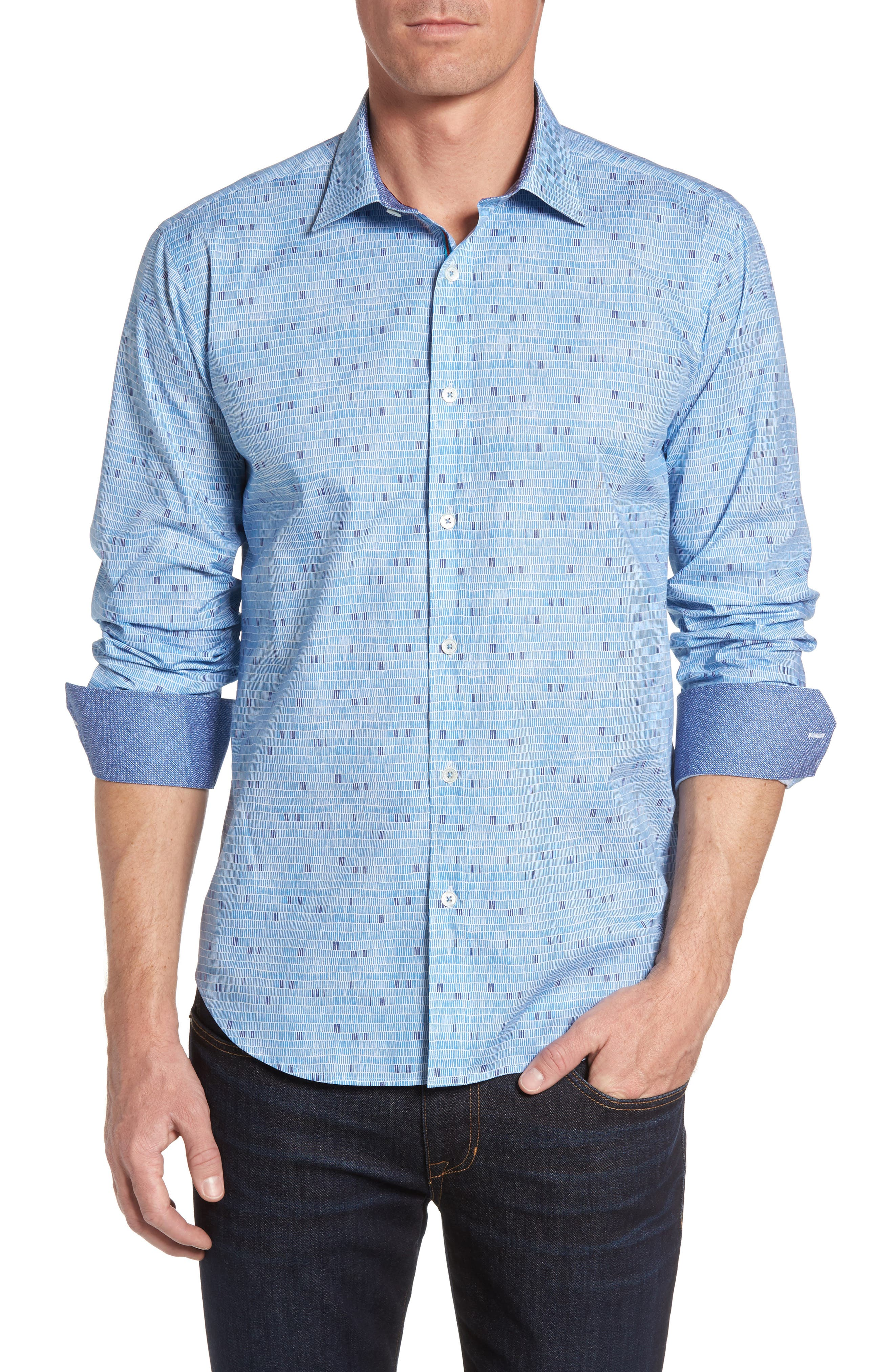 BUGATCHI Shaped Fit Optic Pattern Sport Shirt