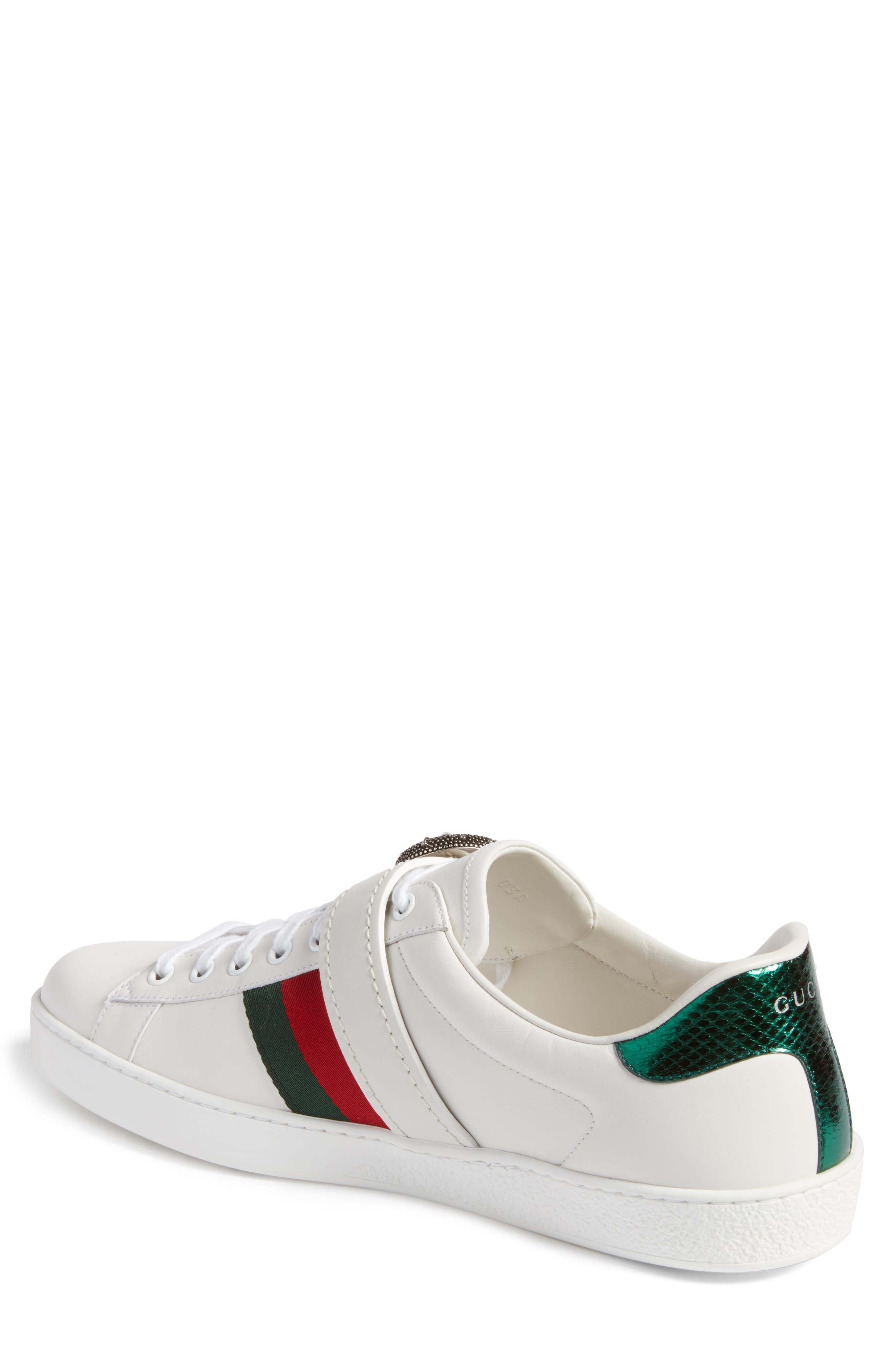New Ace Dionysus Buckle Low Top Sneaker,                             Alternate thumbnail 2, color,                             White With Silver Hardware