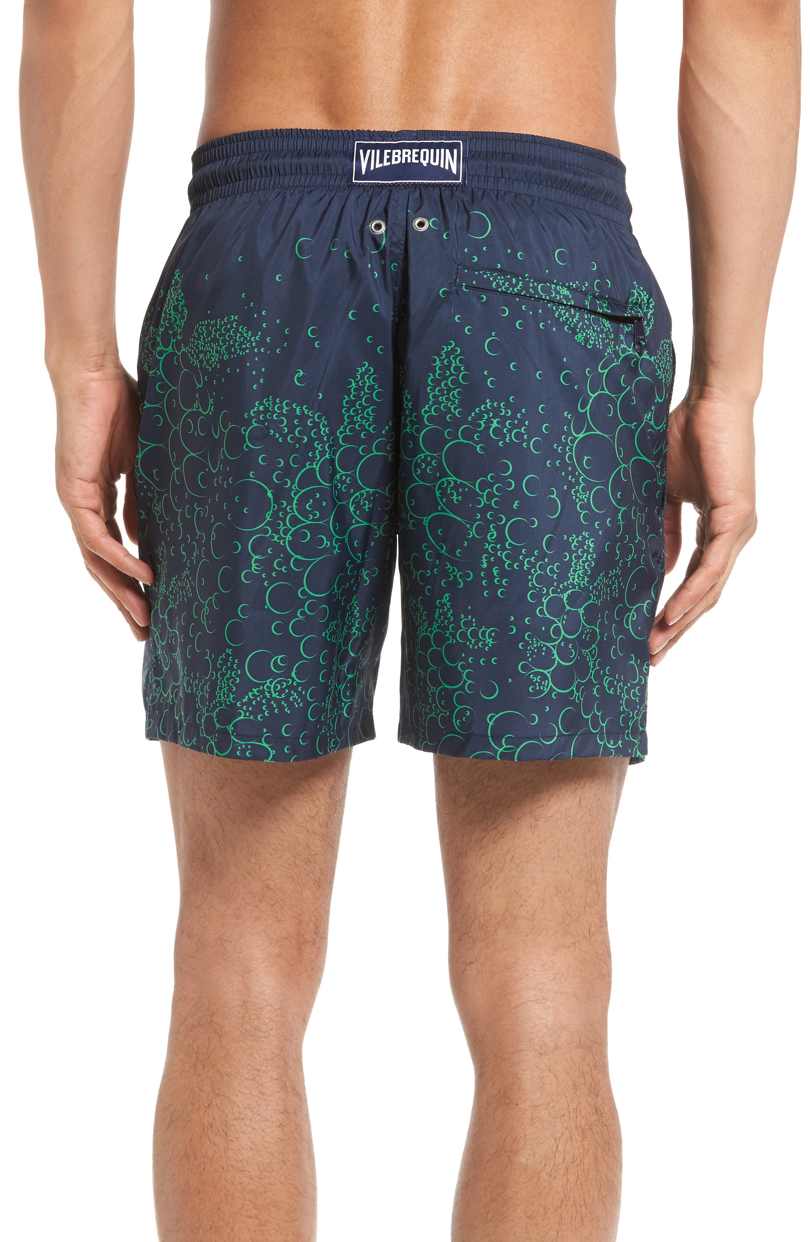 Mahina Bubble Turtles Print Swim Trunks,                             Alternate thumbnail 2, color,                             Navy Blue