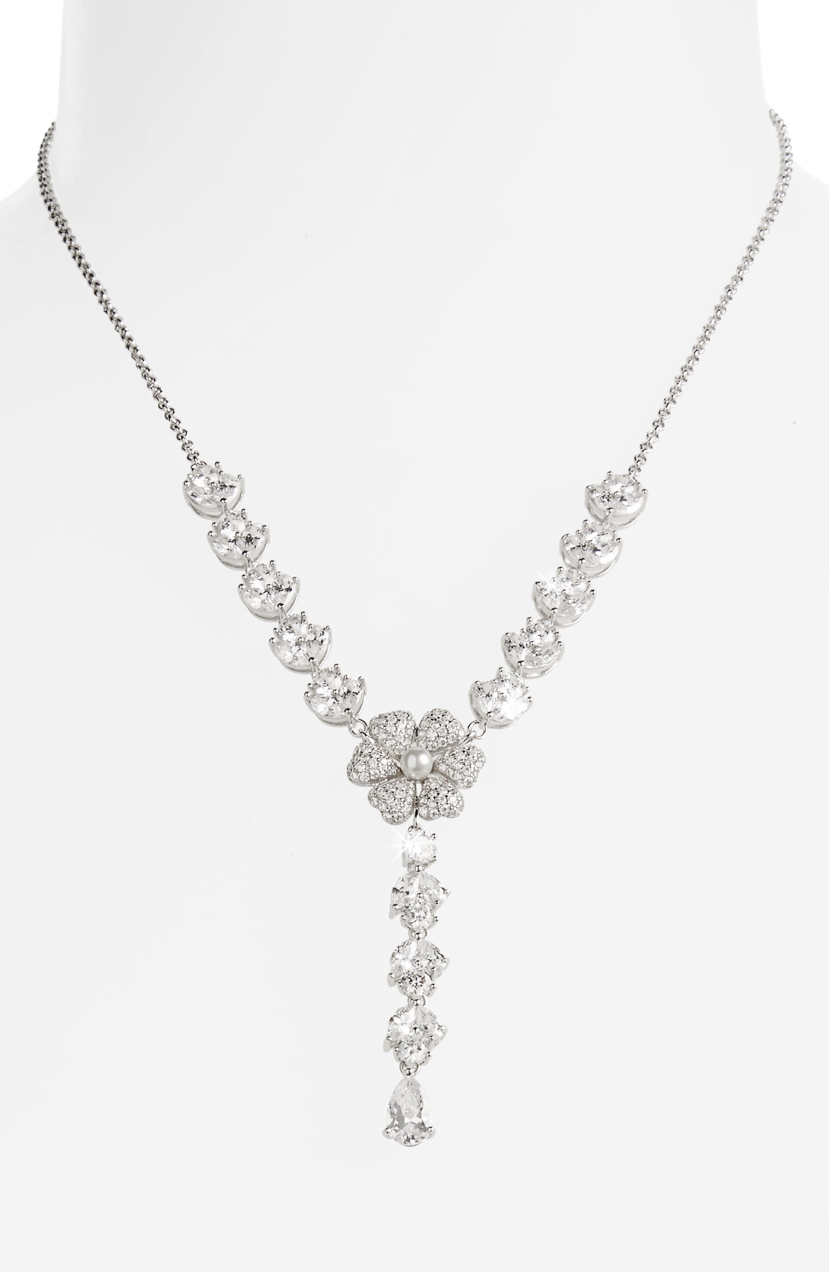 Swarovski Crystal & Imitation Pearl Flower Y-Necklace,                             Alternate thumbnail 2, color,                             Ivory Pearl / Silver
