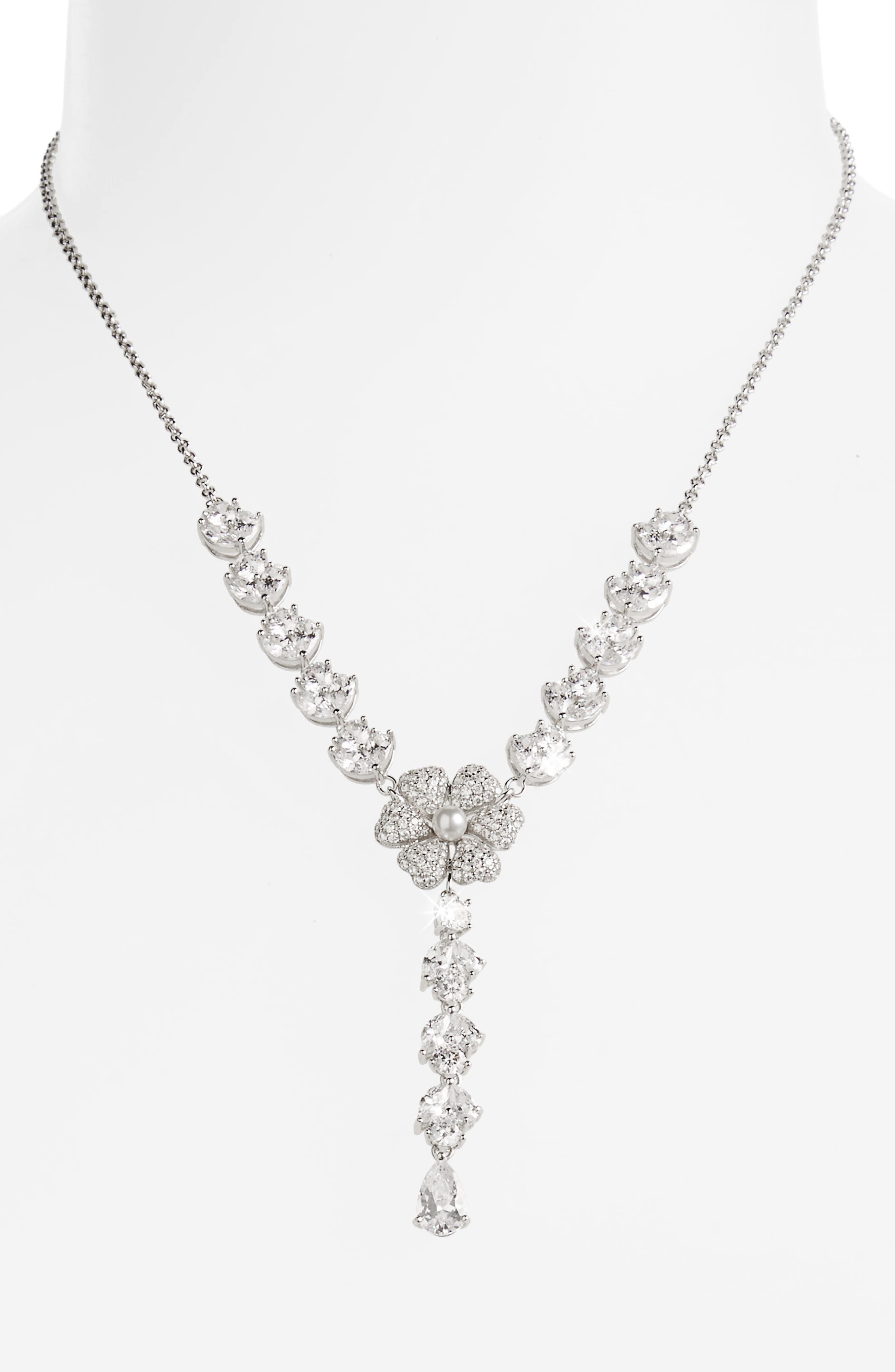 Alternate Image 2  - Nina Swarovski Crystal & Imitation Pearl Flower Y-Necklace