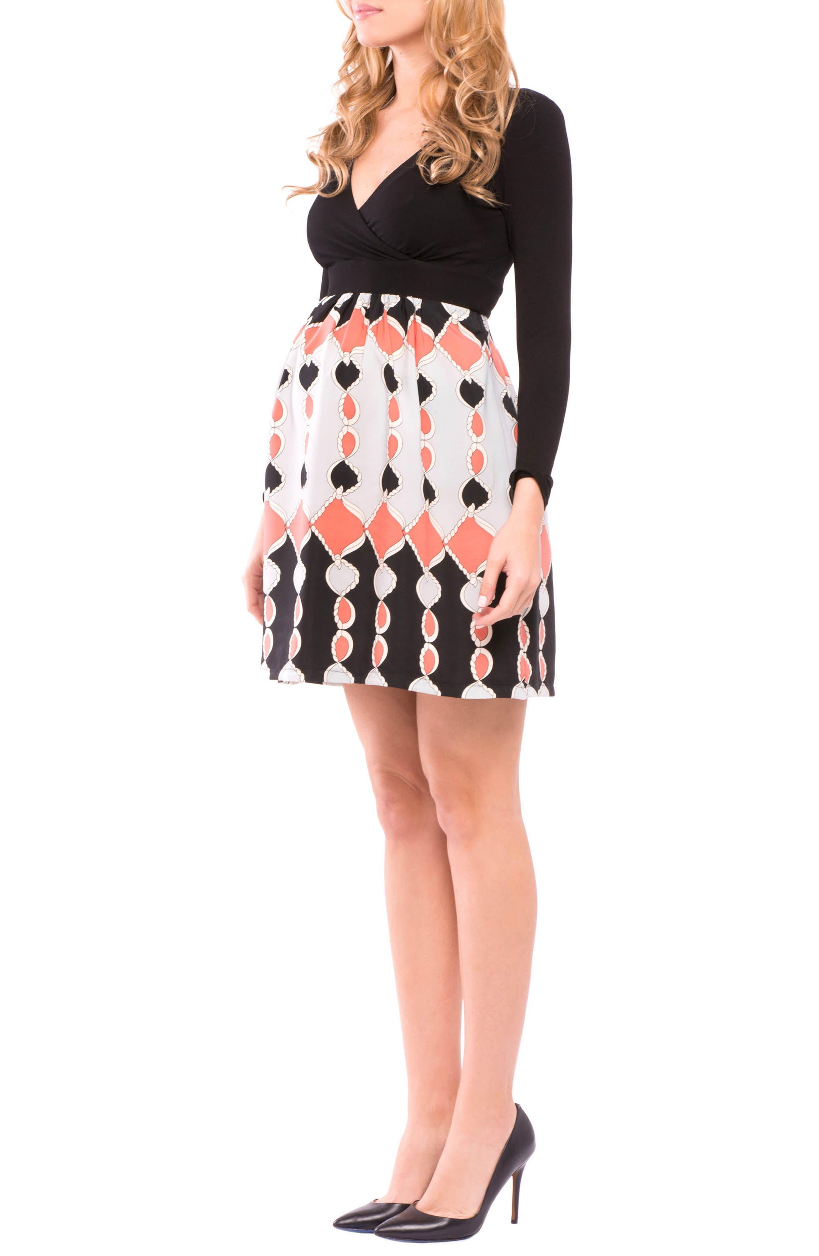 Lexi Print Maternity Dress,                             Alternate thumbnail 3, color,                             Black/ Coral Gray