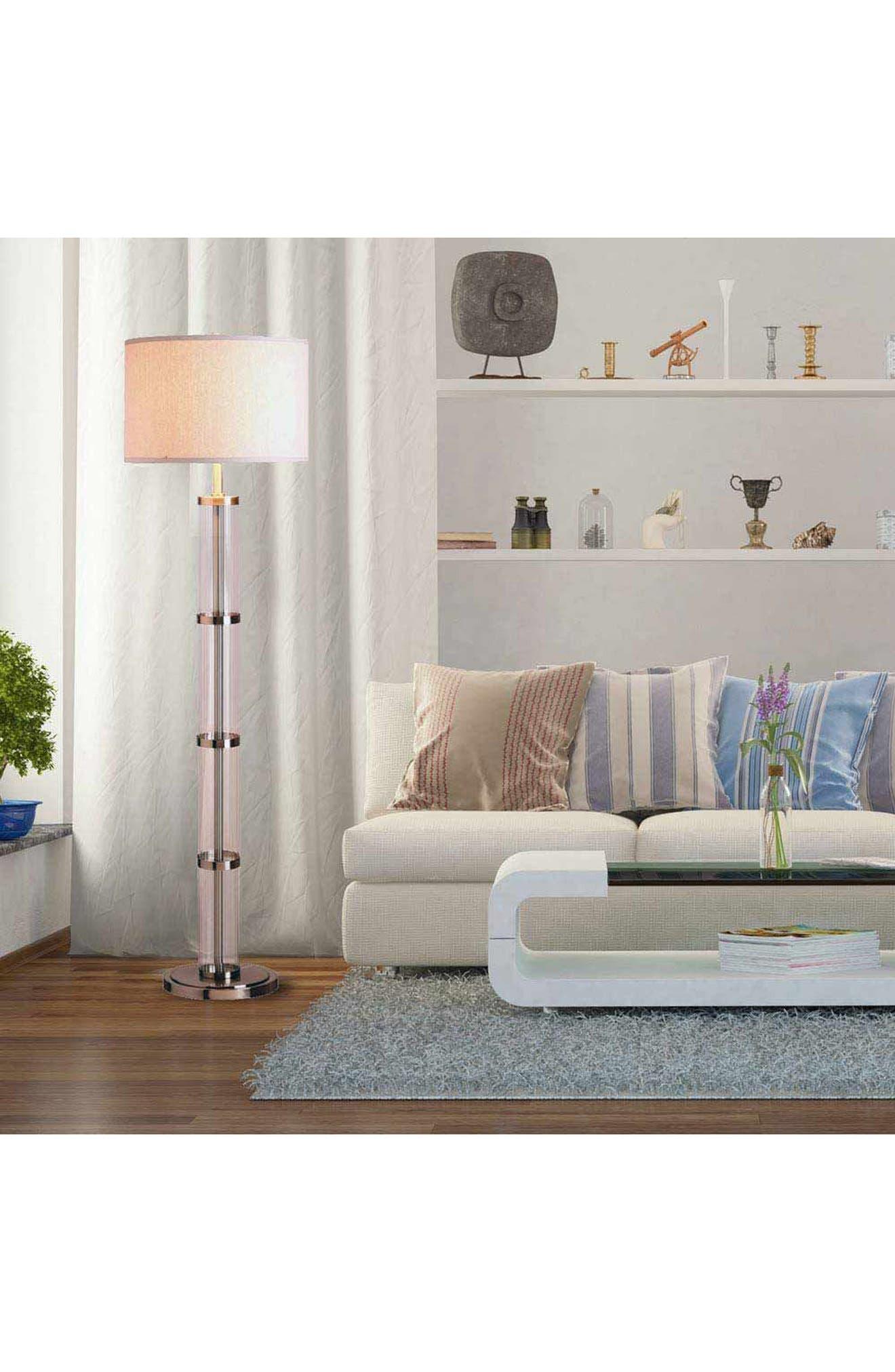 JAlexander Ribbed Glass Floor Lamp,                             Alternate thumbnail 2, color,                             Metallic Silver