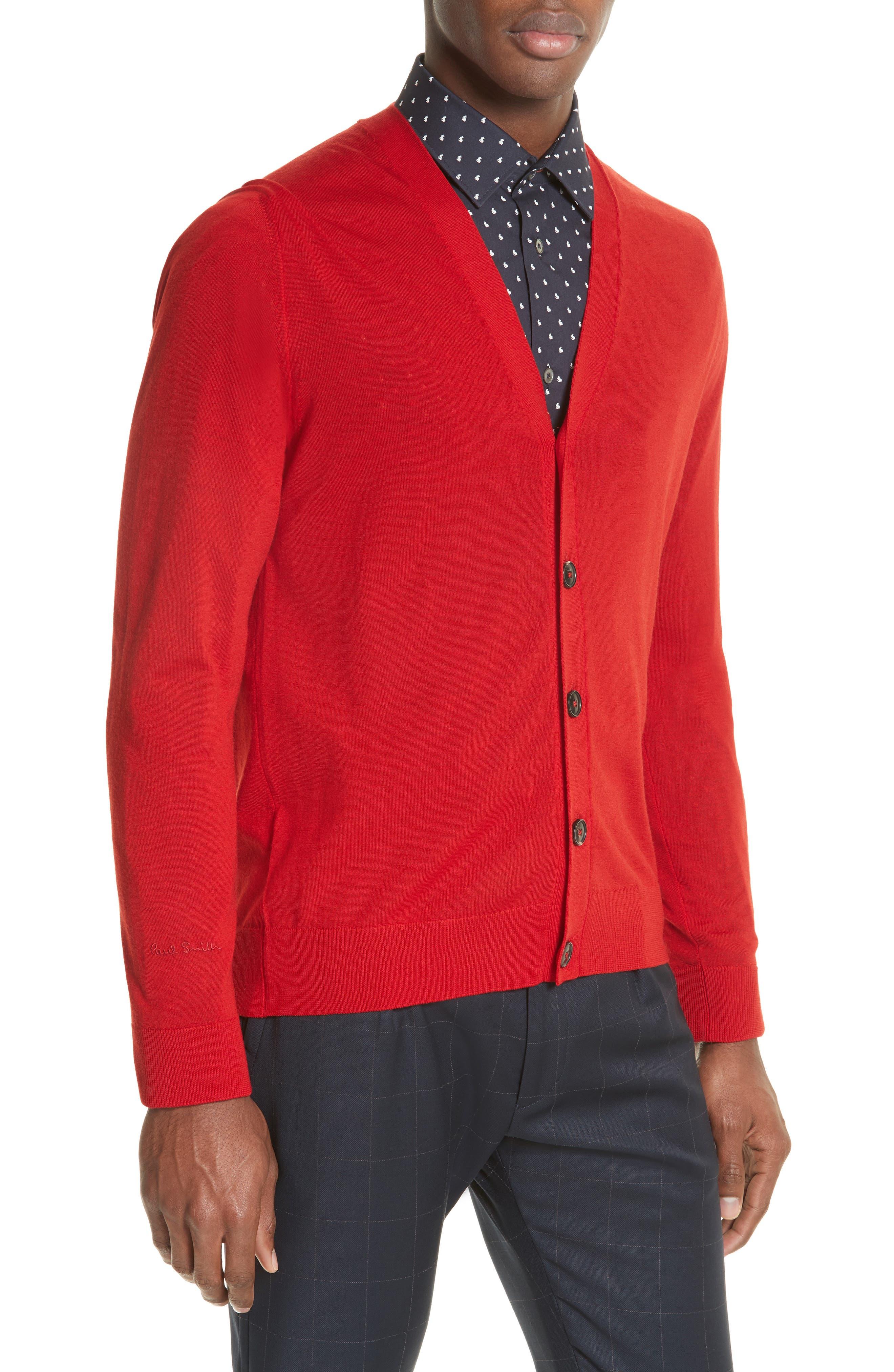 Merino Wool Cardigan,                             Alternate thumbnail 3, color,                             Red