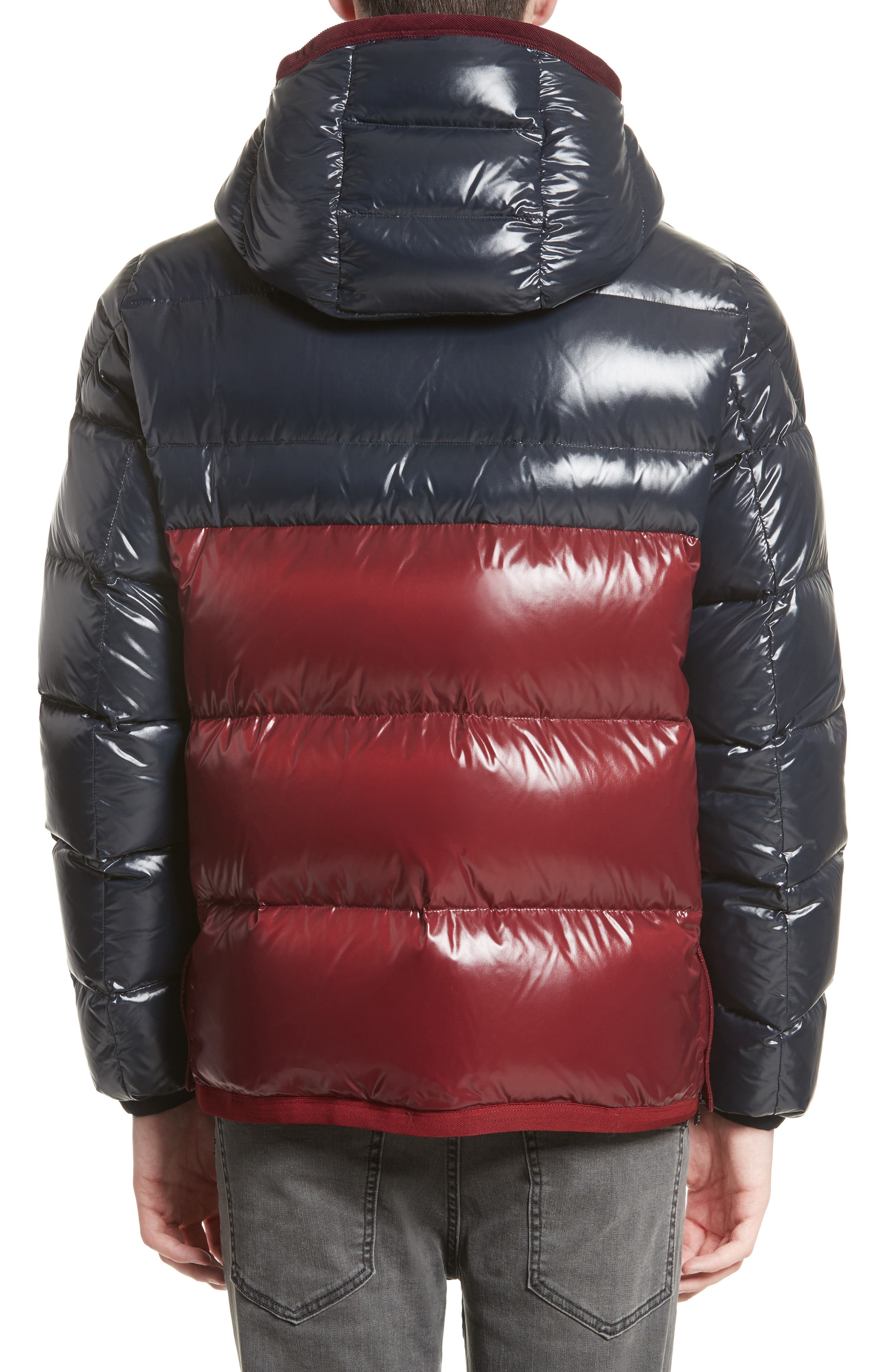 Harry Two-Tone Lacquered Hooded Down Jacket,                             Alternate thumbnail 2, color,                             Navy