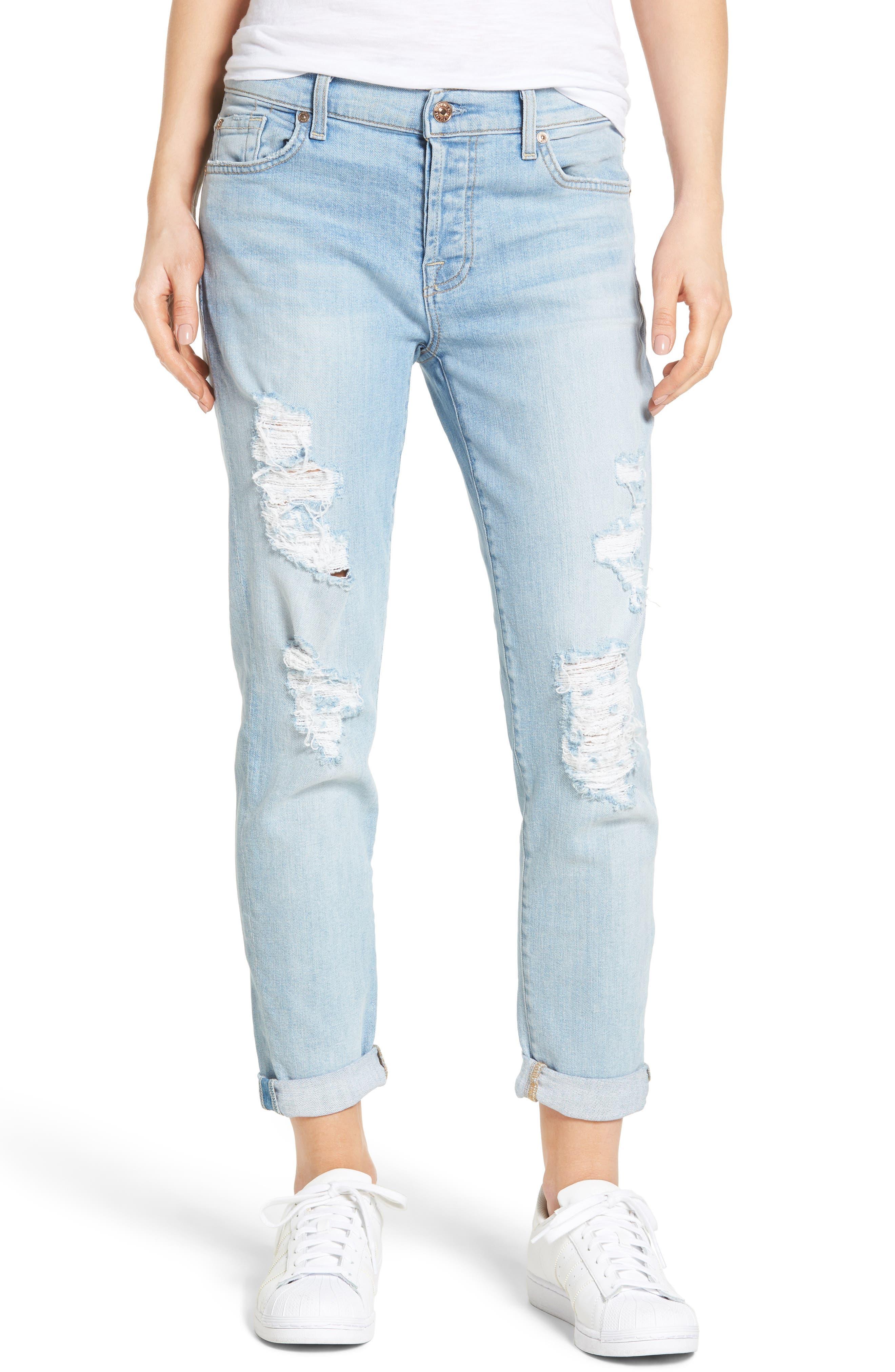 Main Image - 7 For All Mankind® 'Josefina' Boyfriend Jeans (Ocean Breeze)