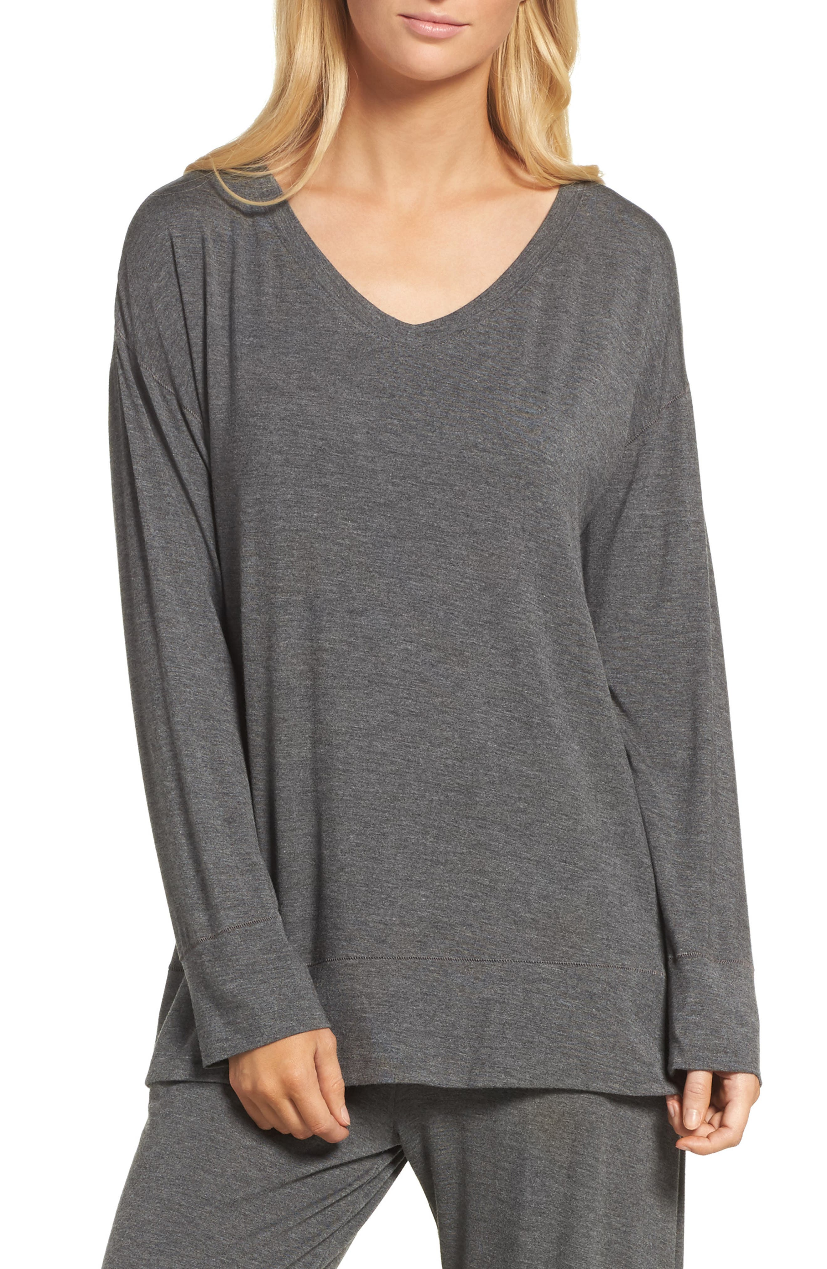 Lounge Top,                         Main,                         color, Charcoal Heather