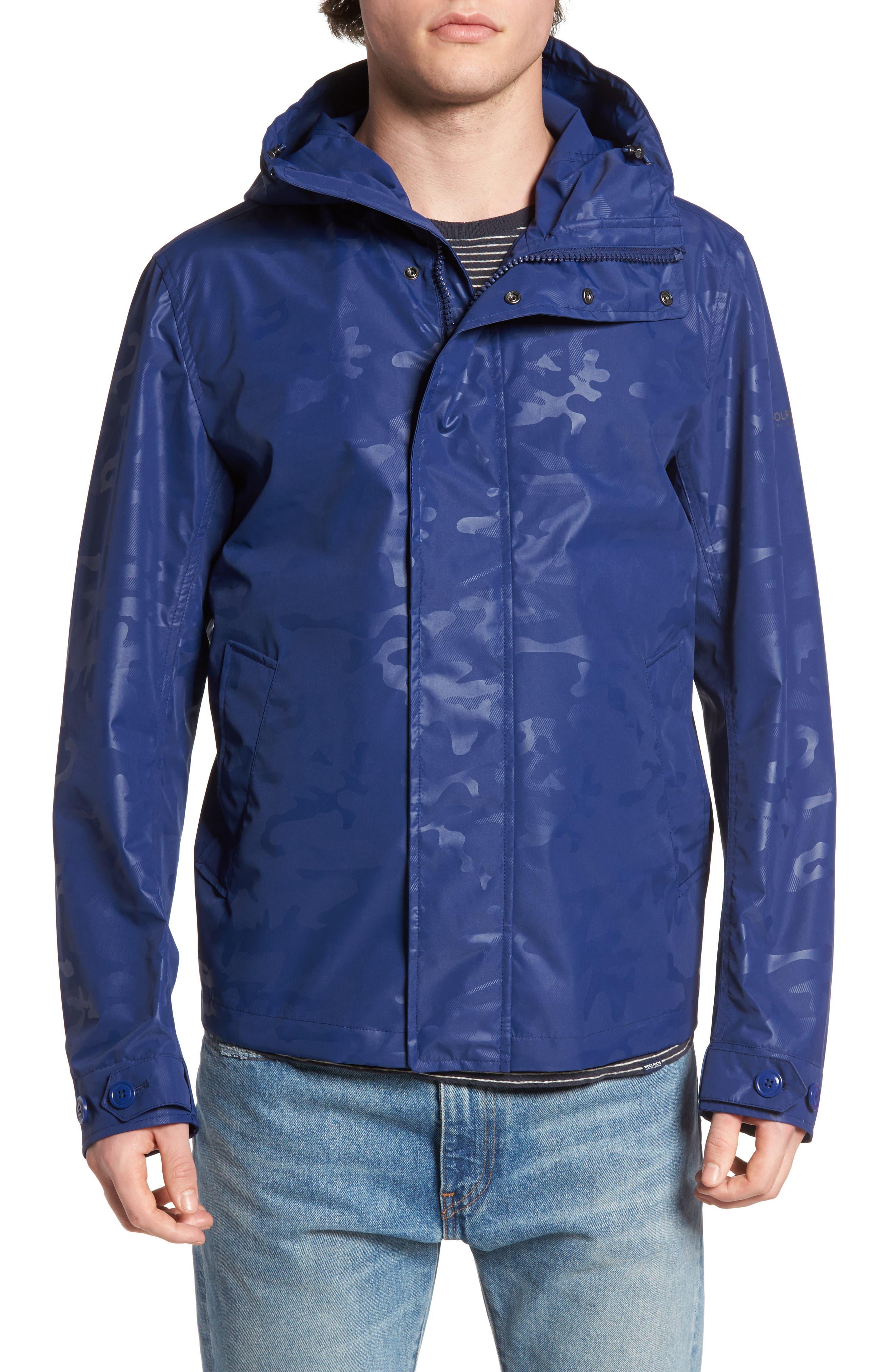 Camou Rudder Waterproof Jacket,                             Alternate thumbnail 4, color,                             Twilight Blue