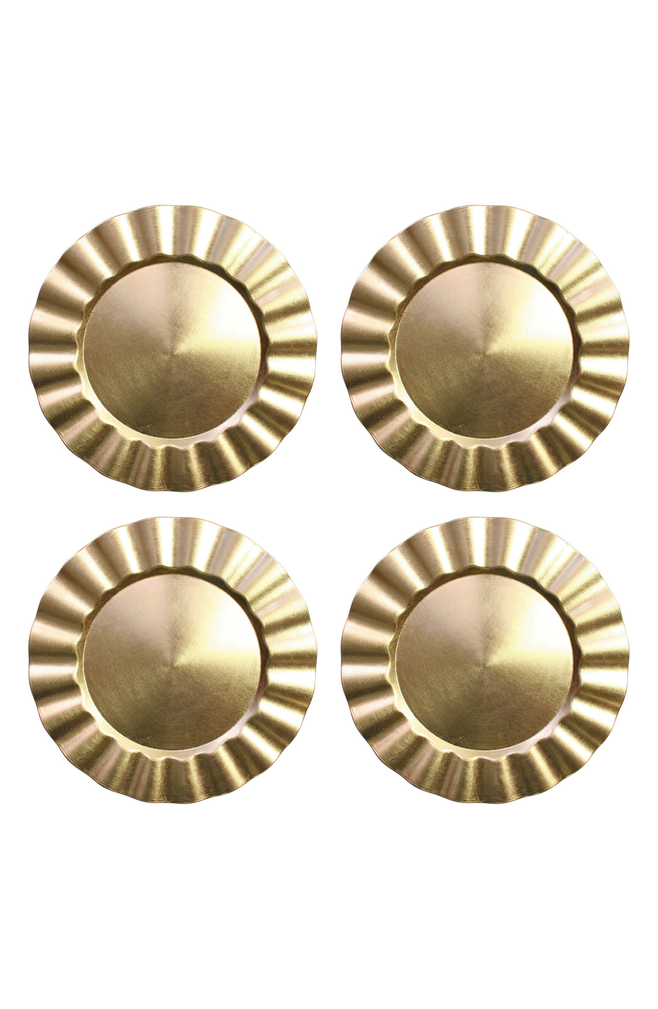 Set of 4 Round Ruffled Charger Plates,                         Main,                         color, Metallic Gold