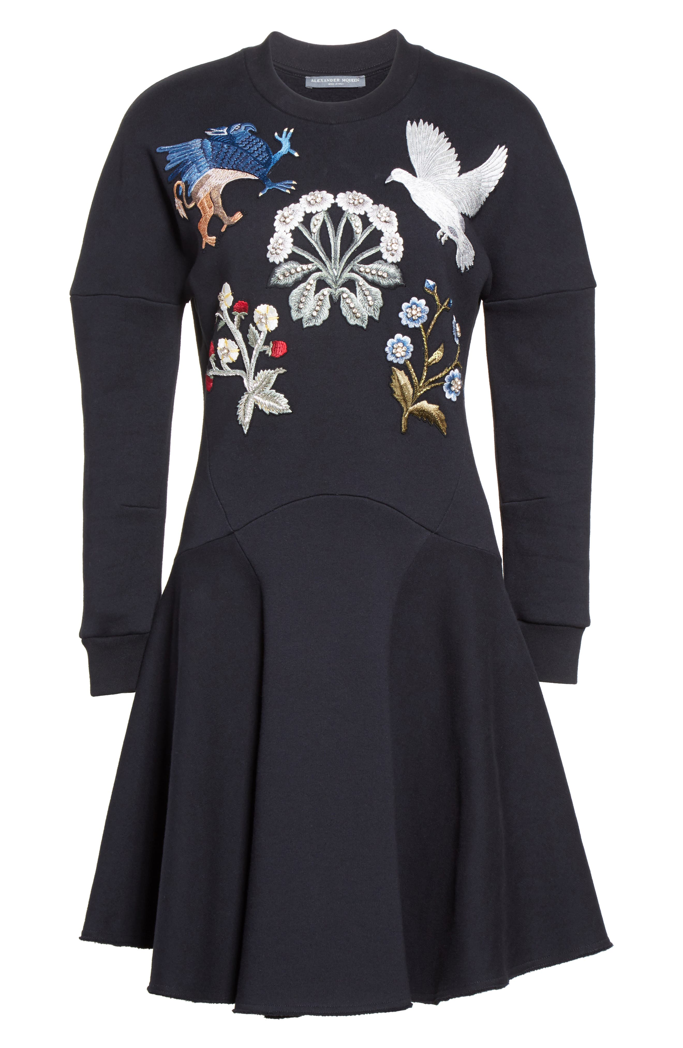 Embroidered Sweatshirt Dress,                             Alternate thumbnail 4, color,                             Black