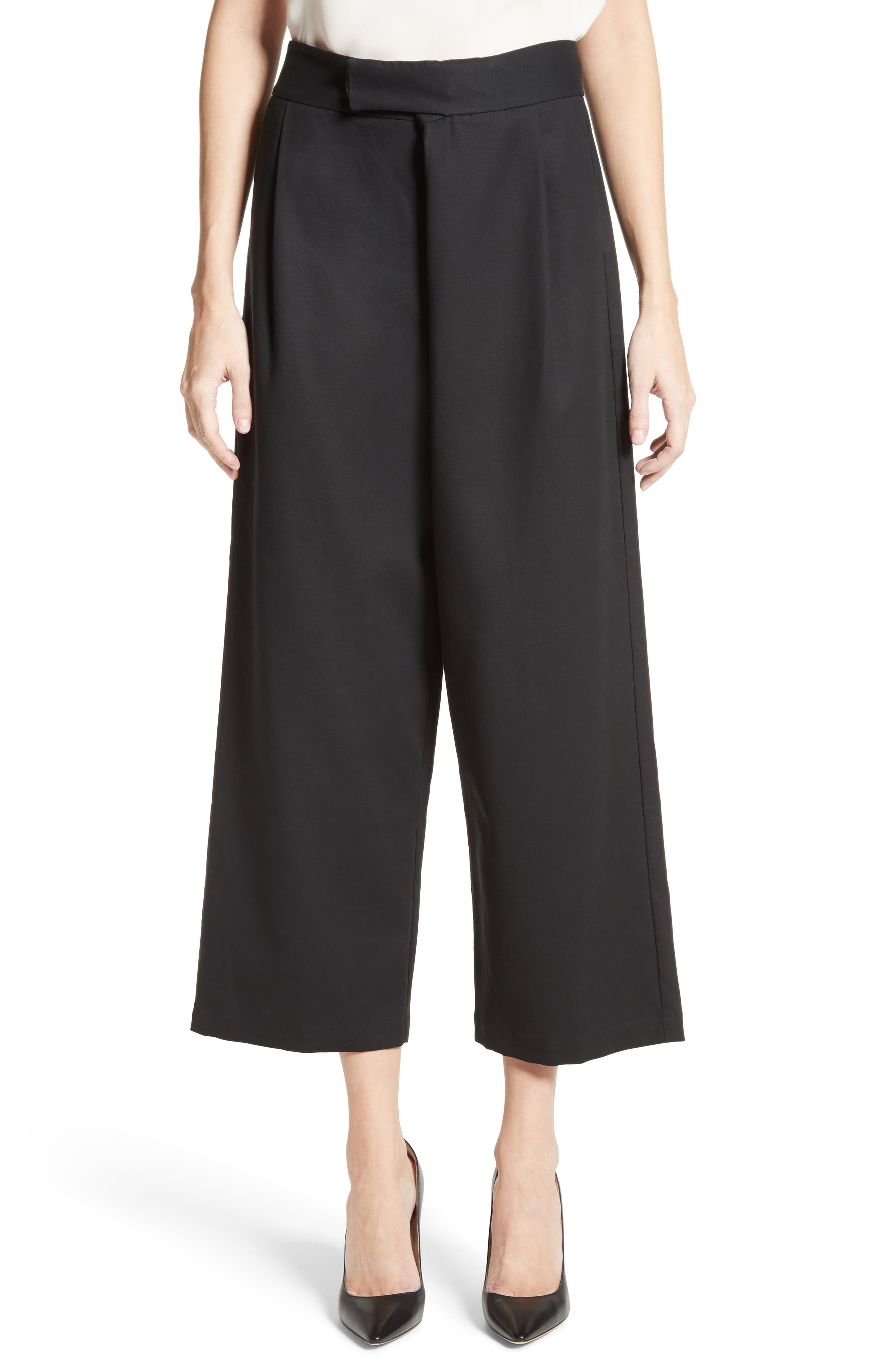 Gabardine Wrap Front Crop Pants,                         Main,                         color, Black