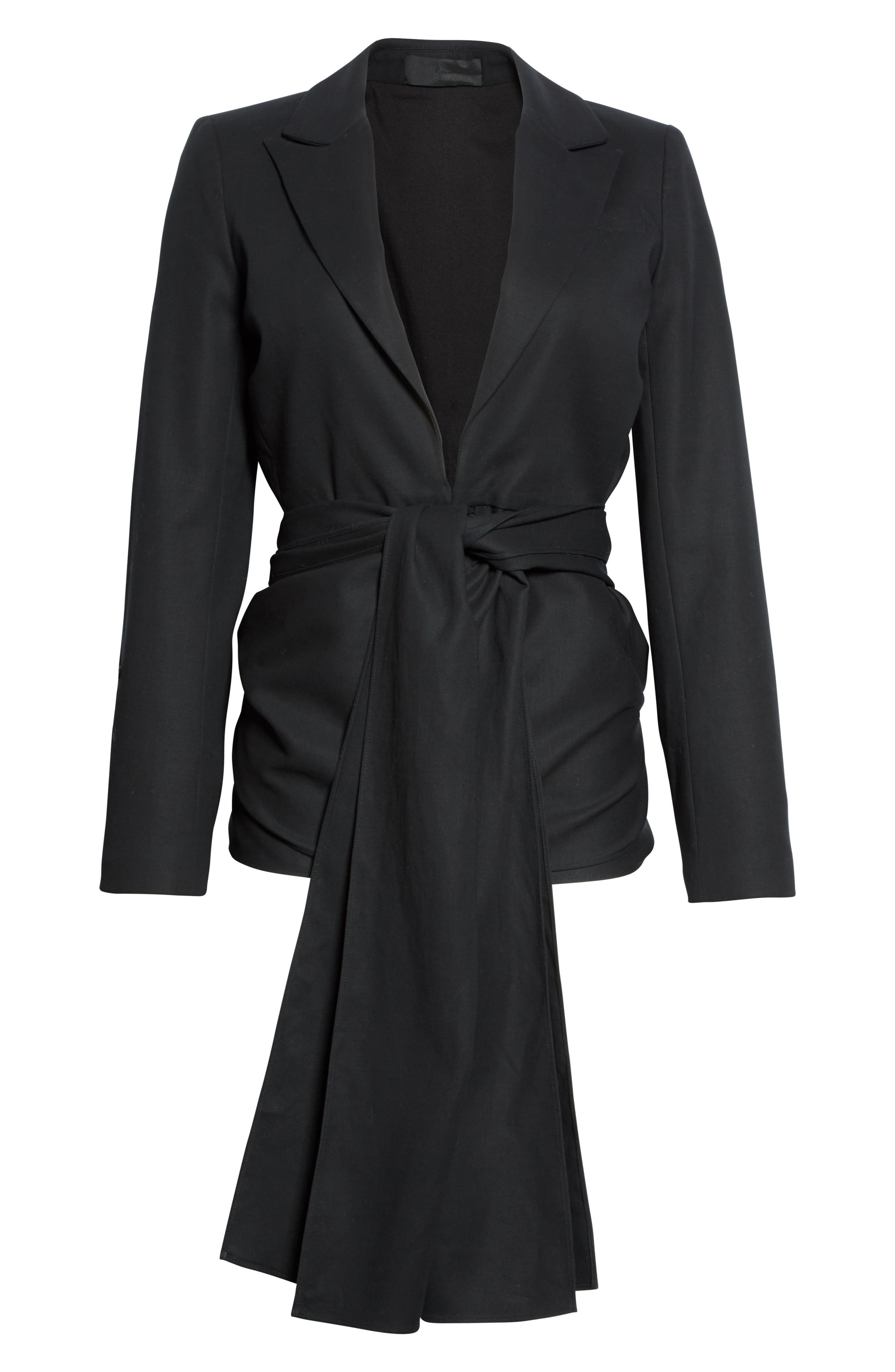Cotton Gabardine Wrap Blazer,                             Alternate thumbnail 4, color,                             Black