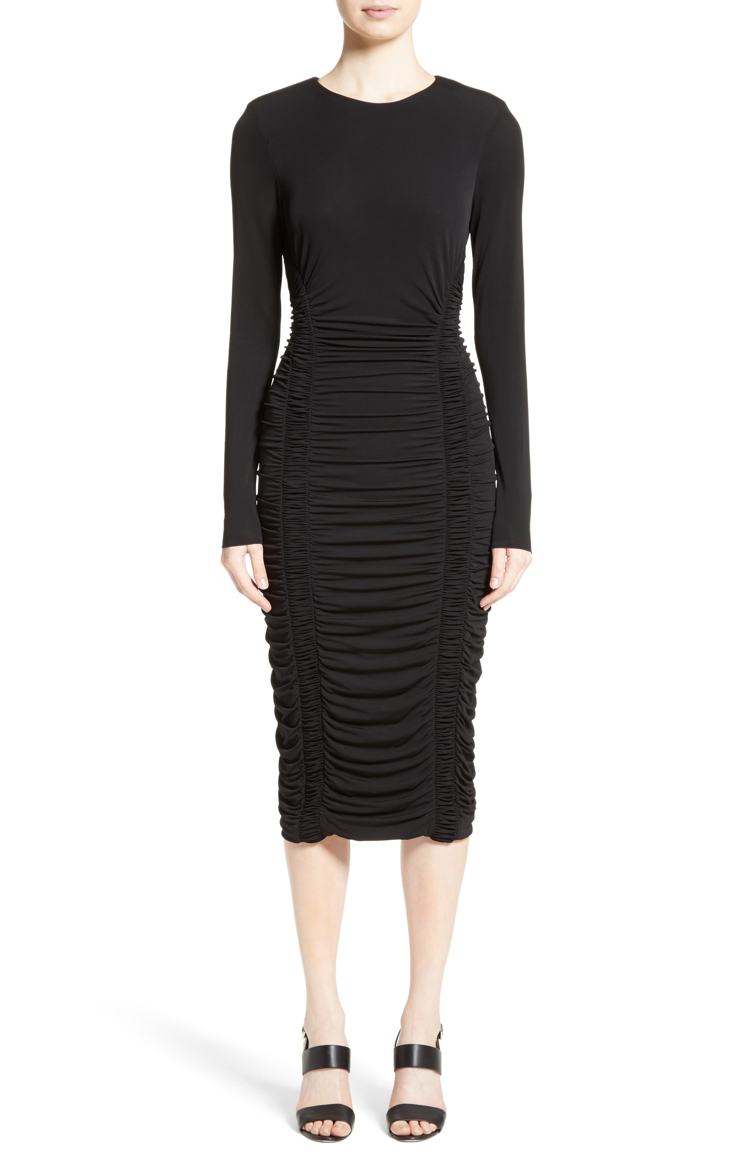 Ruched Stretch Jersey Dress,                             Main thumbnail 1, color,                             Black