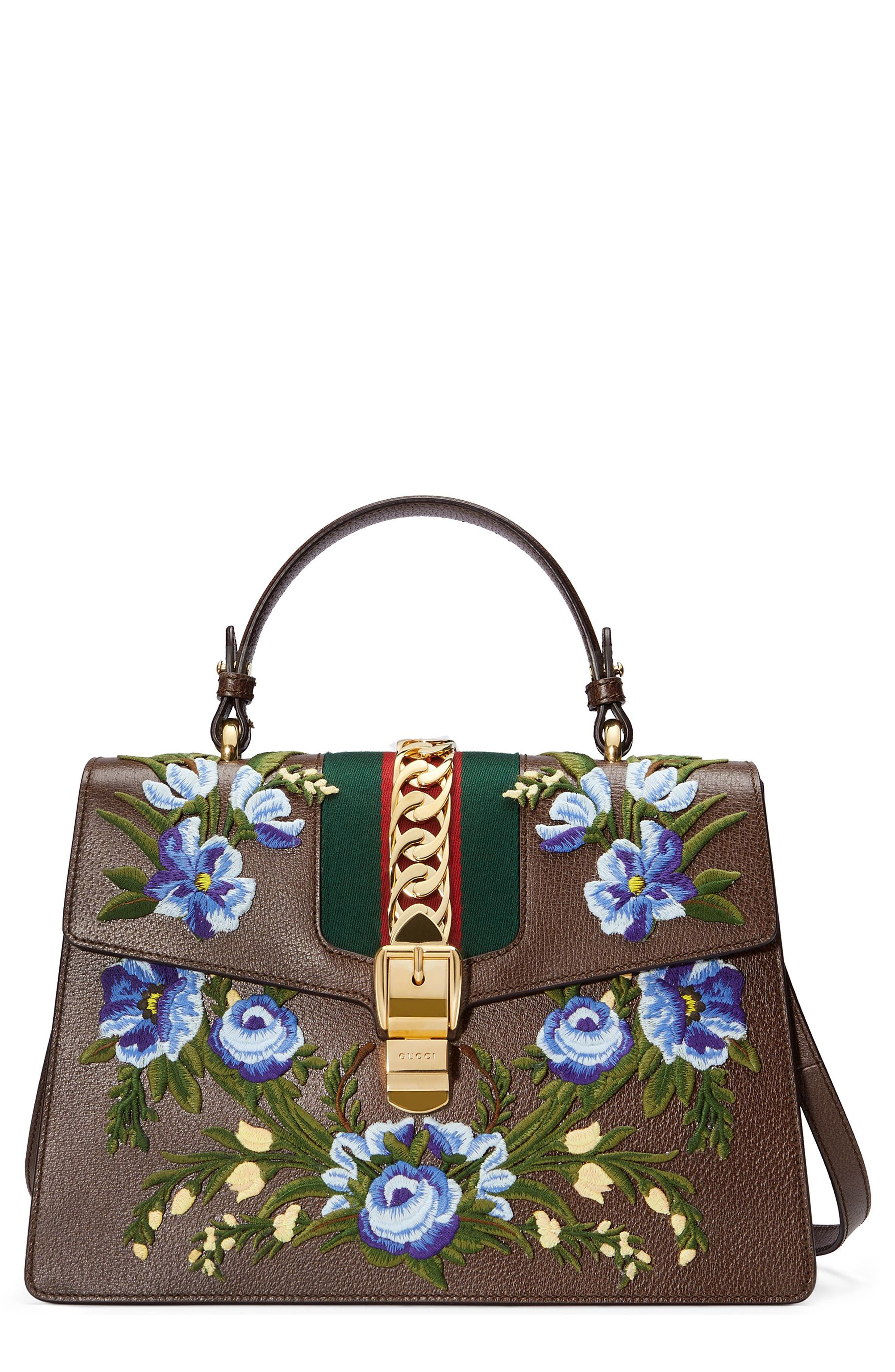 Gucci Medium Sylvie Embroidered Top Handle Leather Shoulder Bag