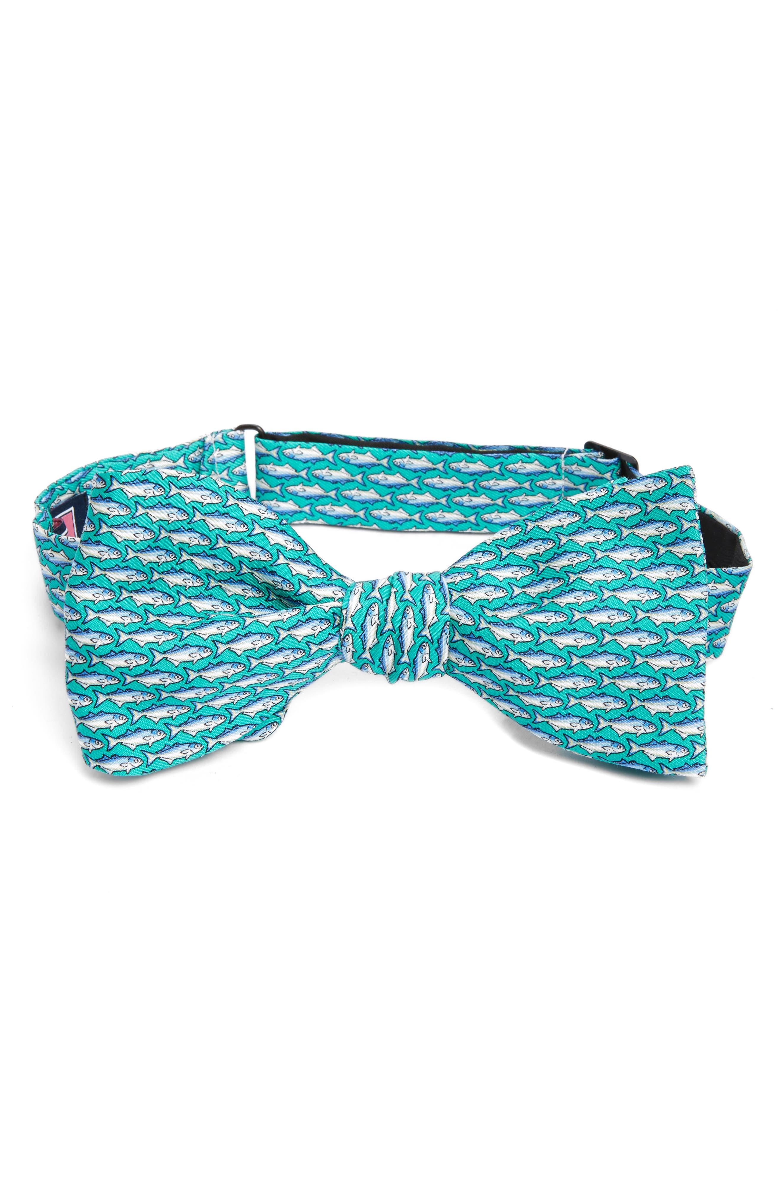 Blue Fish Print Silk Bow Tie,                         Main,                         color, Aqua
