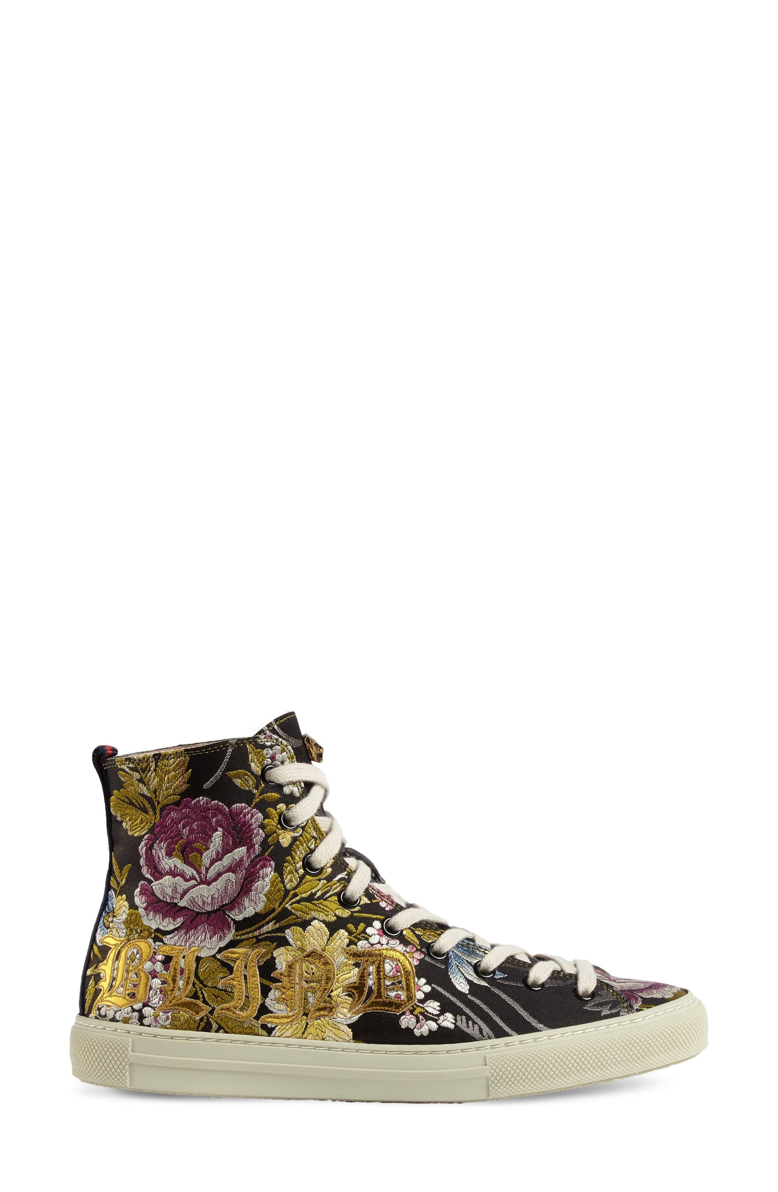 Floral High Top Sneaker,                             Main thumbnail 1, color,                             Black Floral
